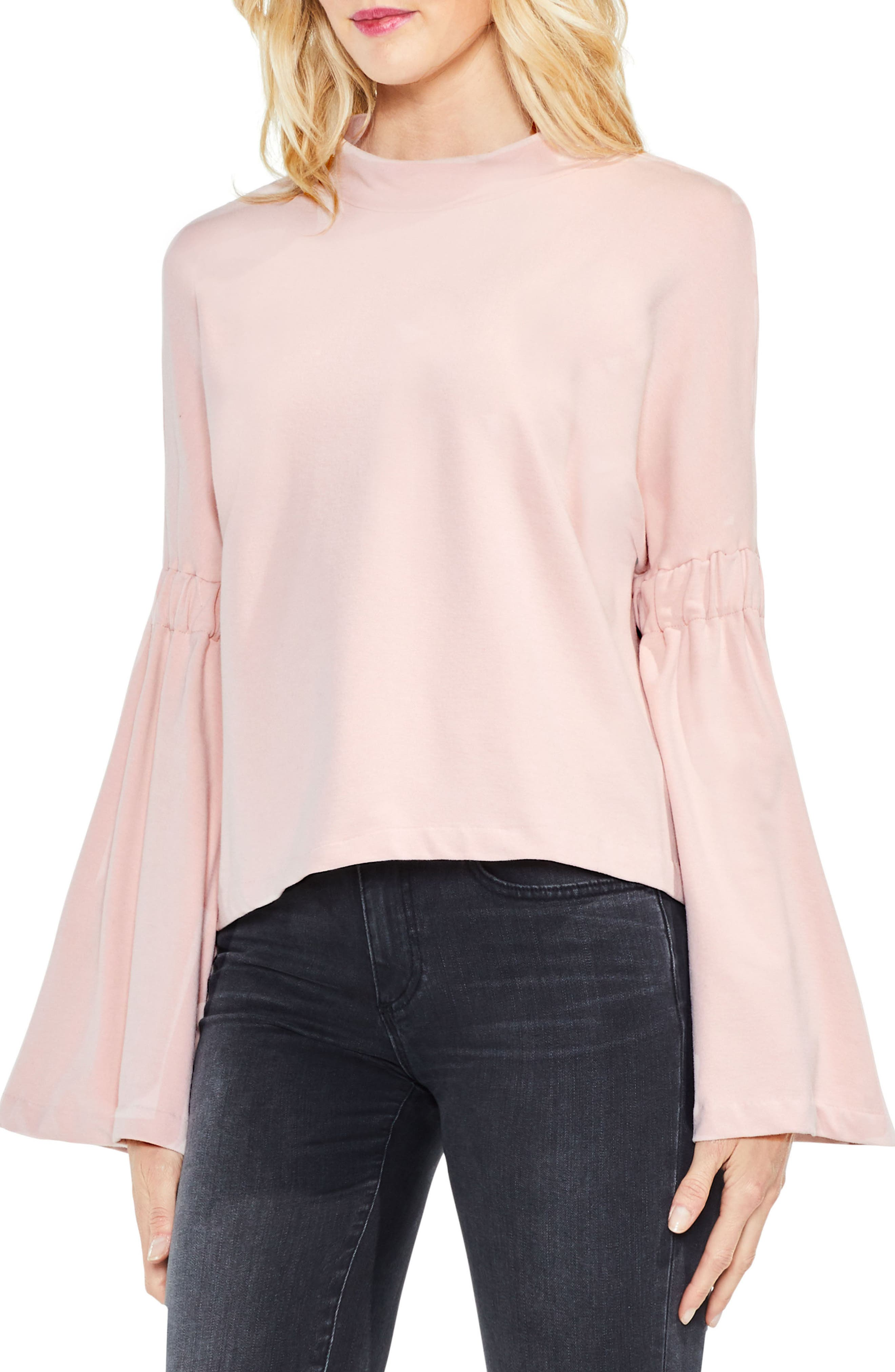 Two by Vince Camuto Mock Neck Bell Sleeve Top (Regular & Petite)
