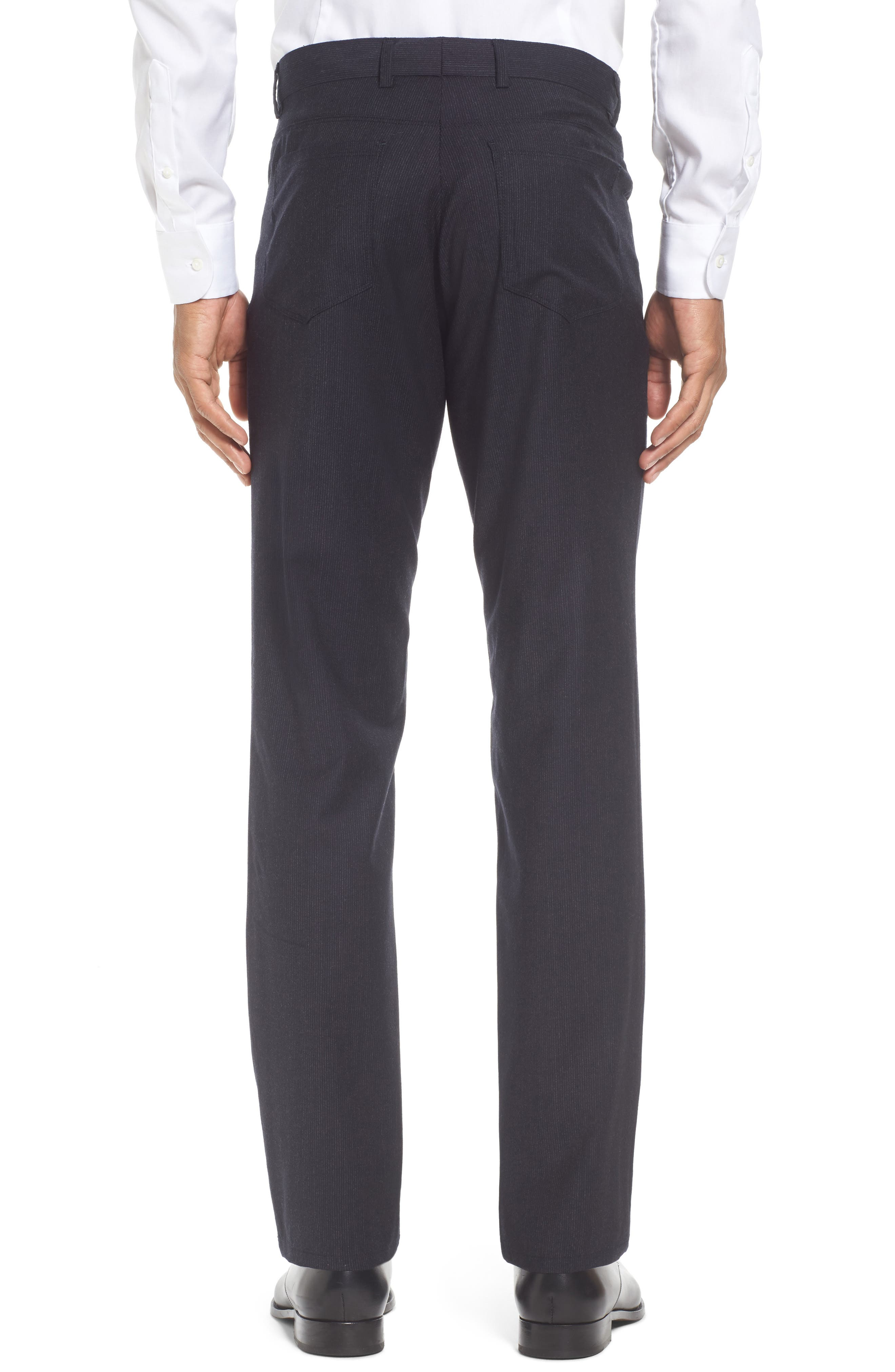 Flat Front Stripe Stretch Wool Trousers,                             Alternate thumbnail 3, color,                             Mid Grey