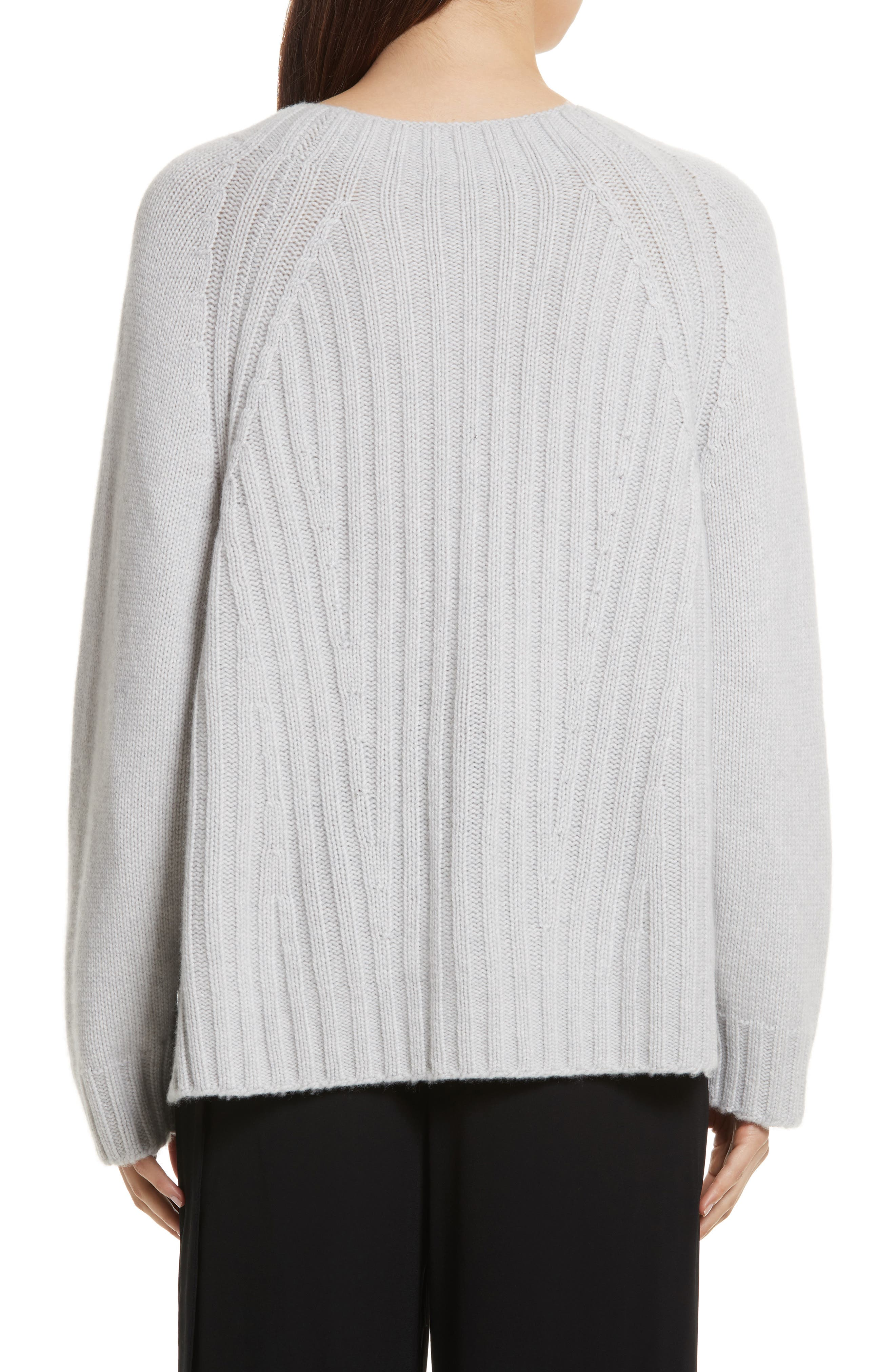 Ribbed Wool & Cashmere Sweater,                             Alternate thumbnail 2, color,                             Light Heather Grey
