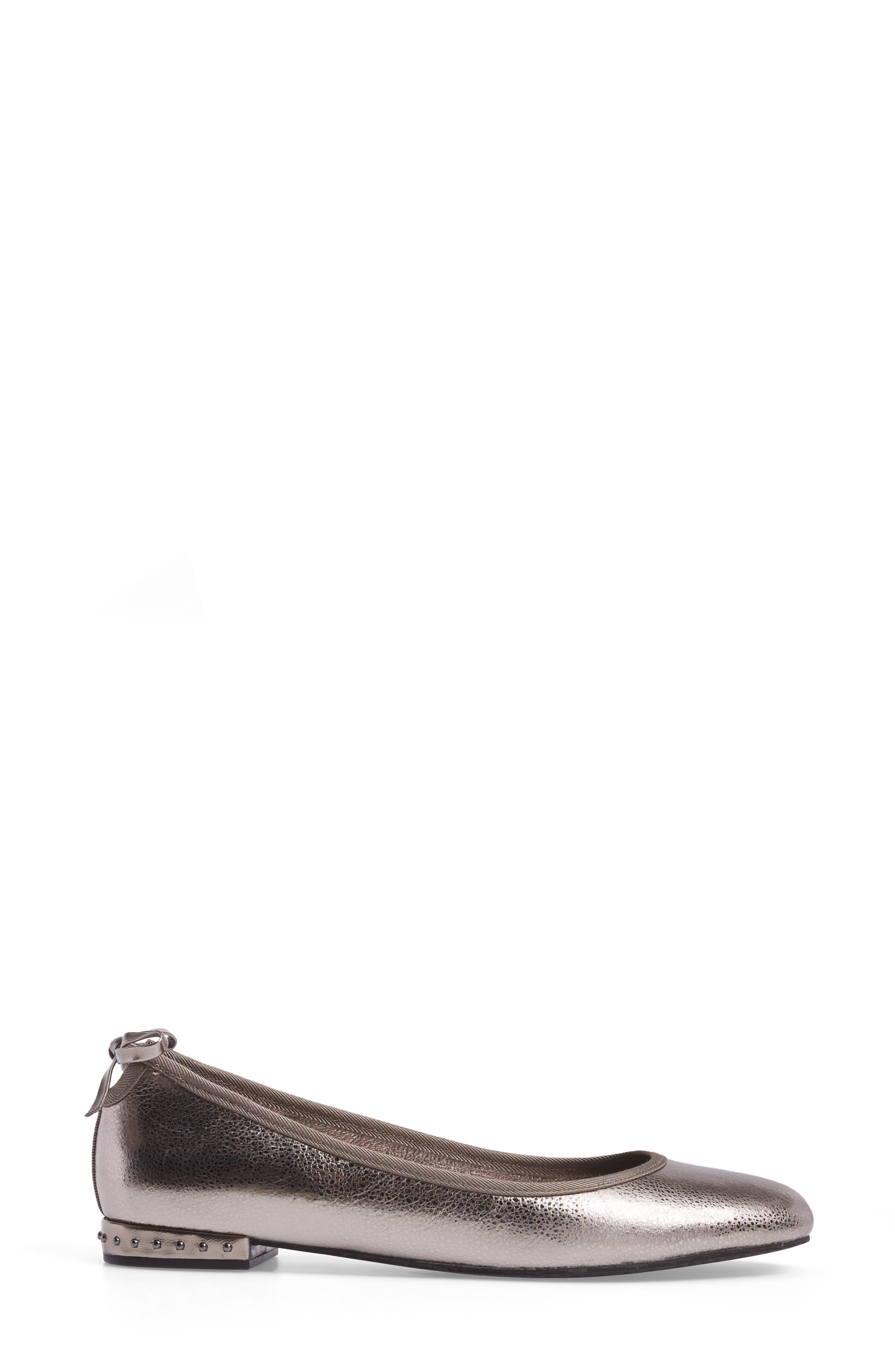 Brianne Flat,                             Alternate thumbnail 3, color,                             Gunmetal Leather