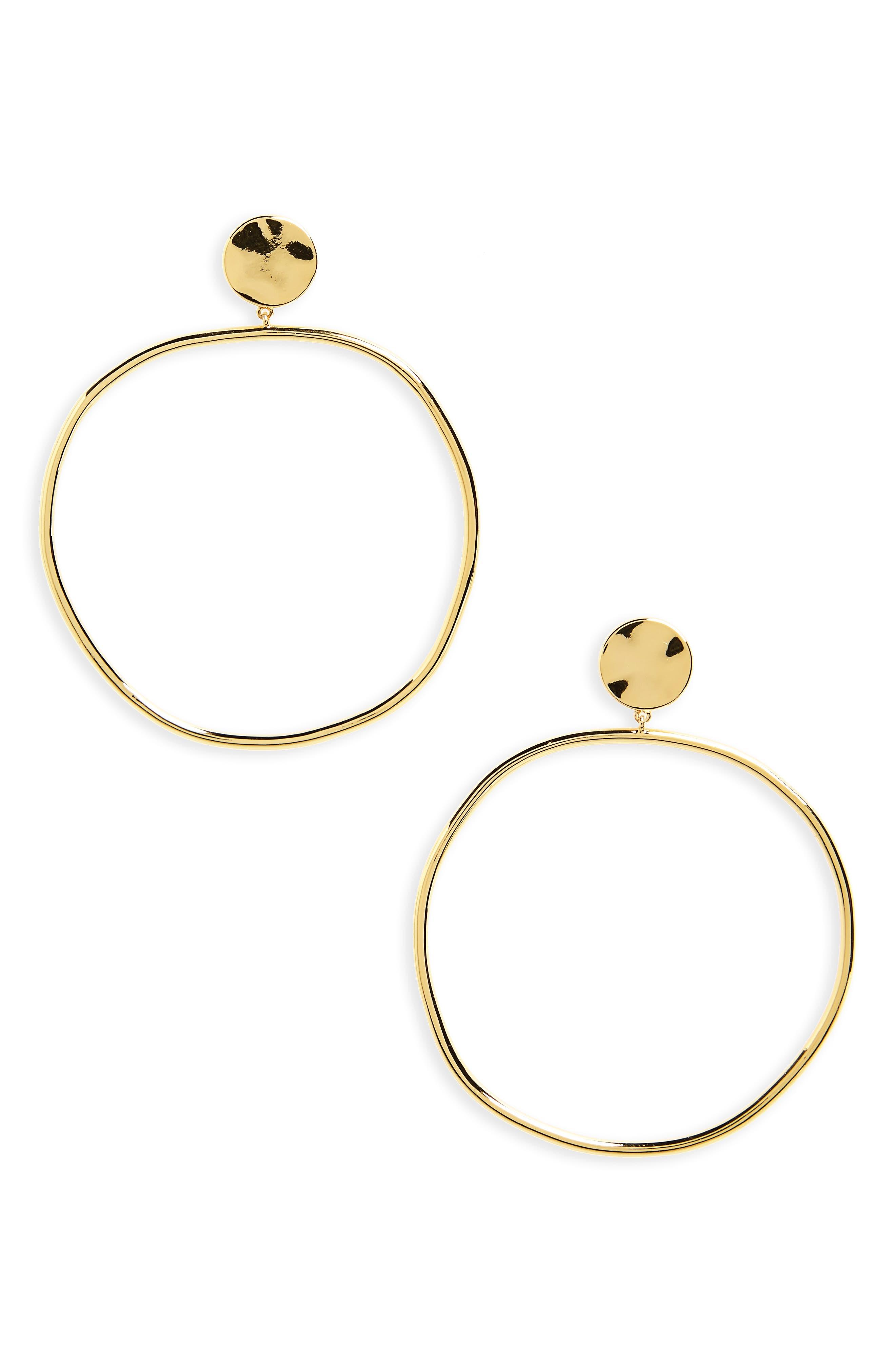 Chloe Frontal Hoop Earrings,                         Main,                         color, Gold