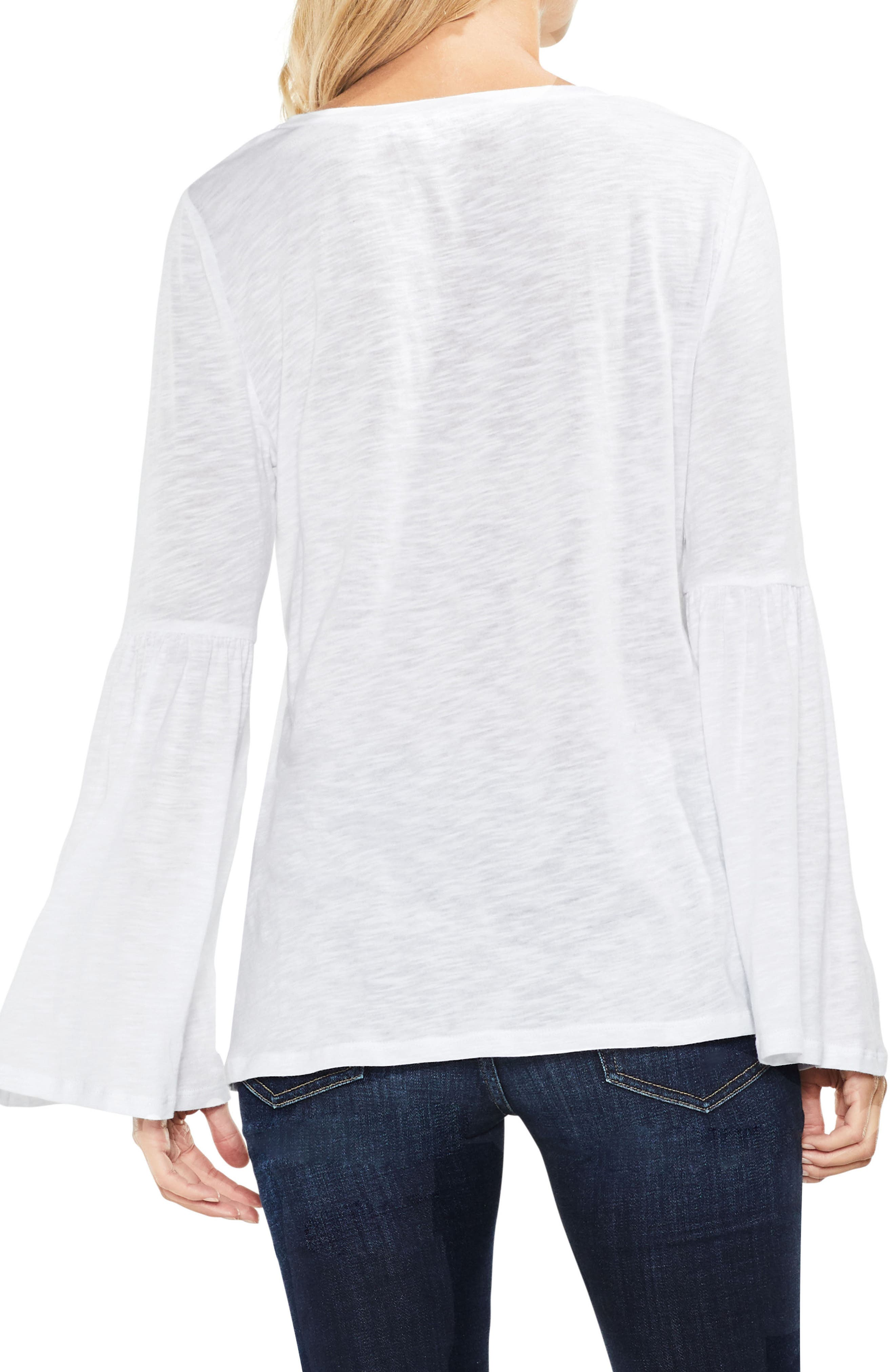 Bell Sleeve Cotton & Modal Top,                             Alternate thumbnail 3, color,                             Ultra White