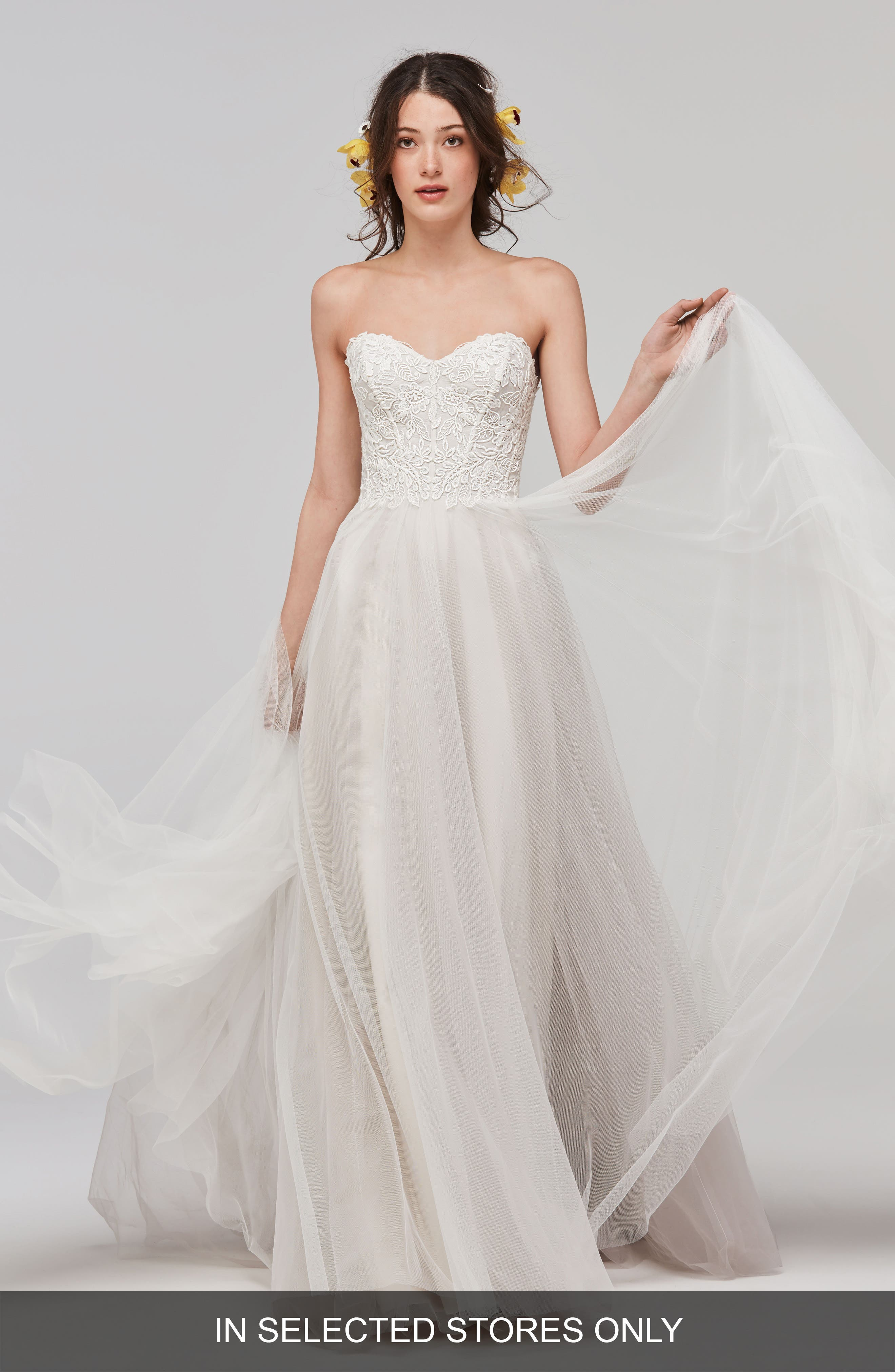 Main Image - Willowby Mariposa Strapless Appliqué Net & Tulle Gown