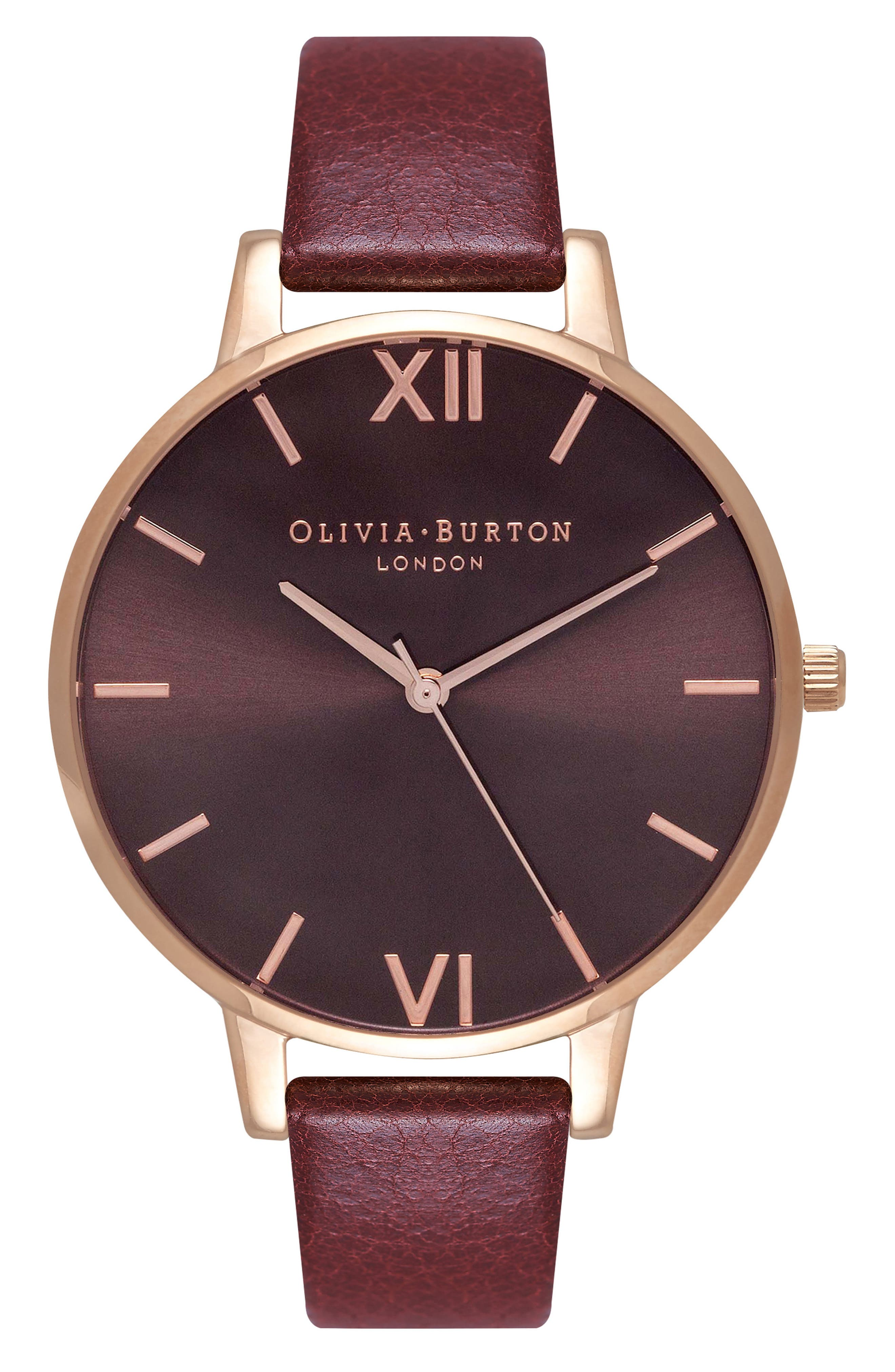 Big Sunray Leather Strap Watch, 38mm,                         Main,                         color, Burgundy/ Rose Gold