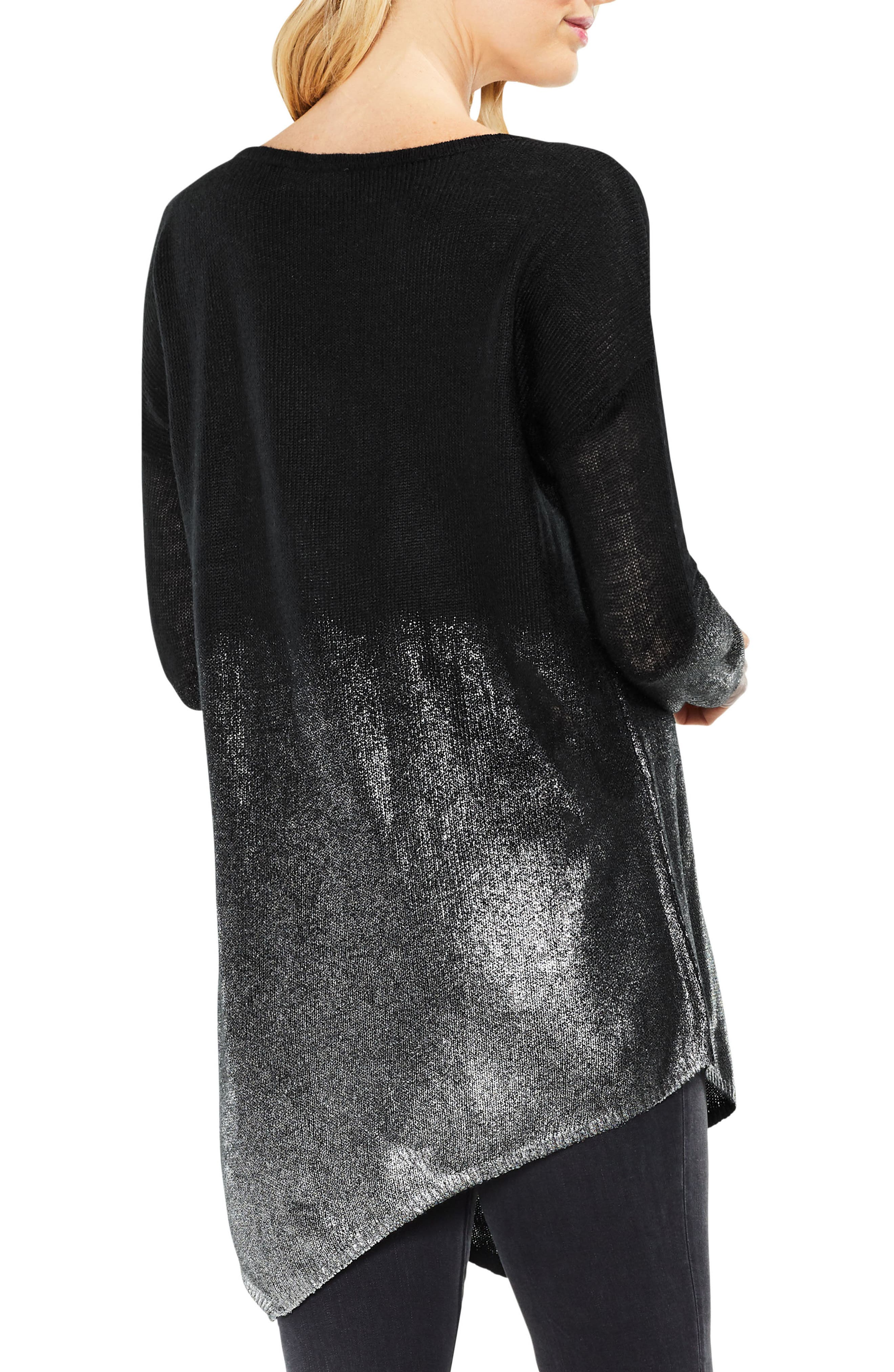 Alternate Image 3  - Two by Vince Camuto Asymmetrical Metallic Ombré Sweater