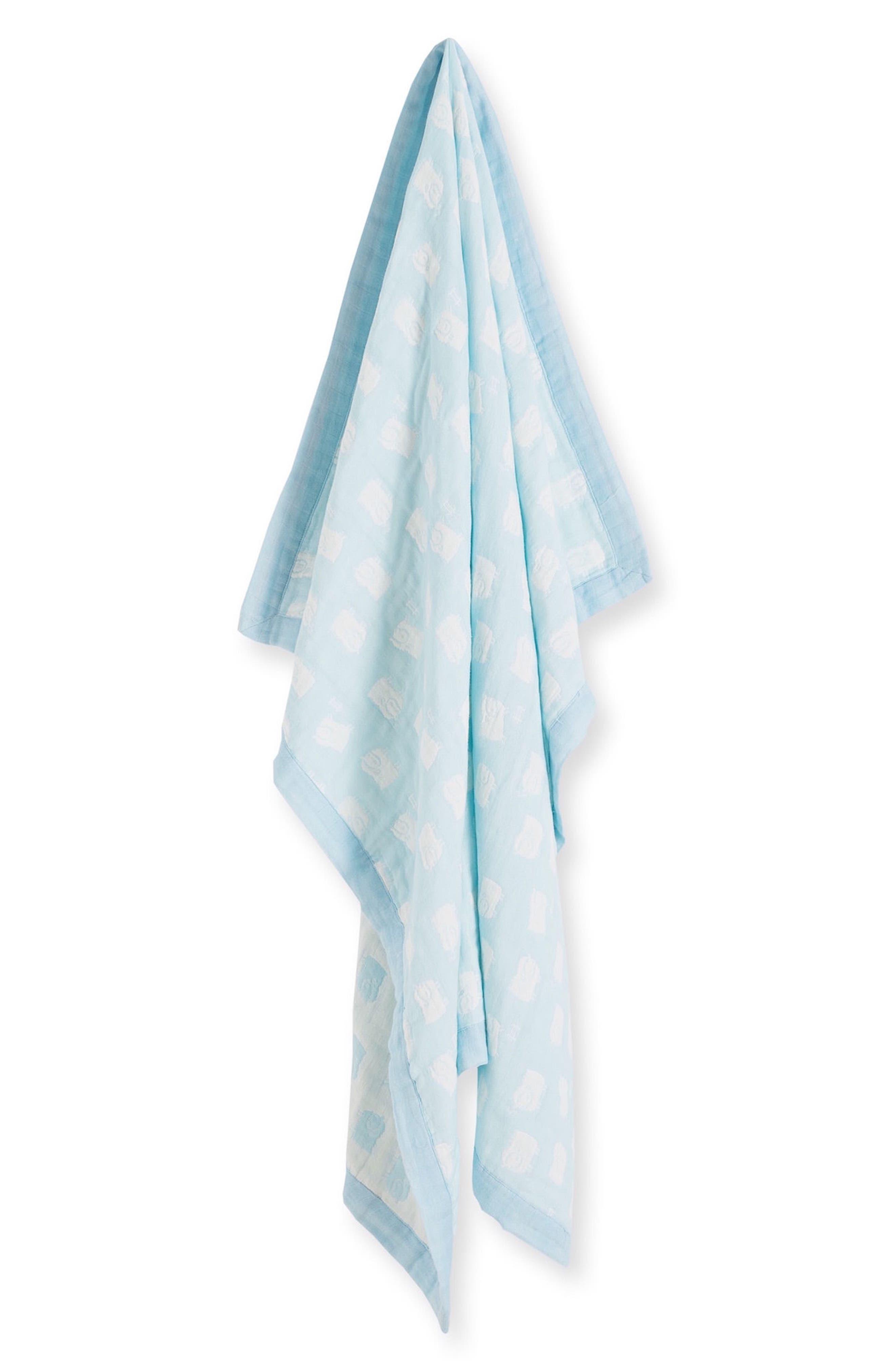 Lamb Jacquard Blanket & Blankie Set,                             Alternate thumbnail 2, color,                             Blue Sheep