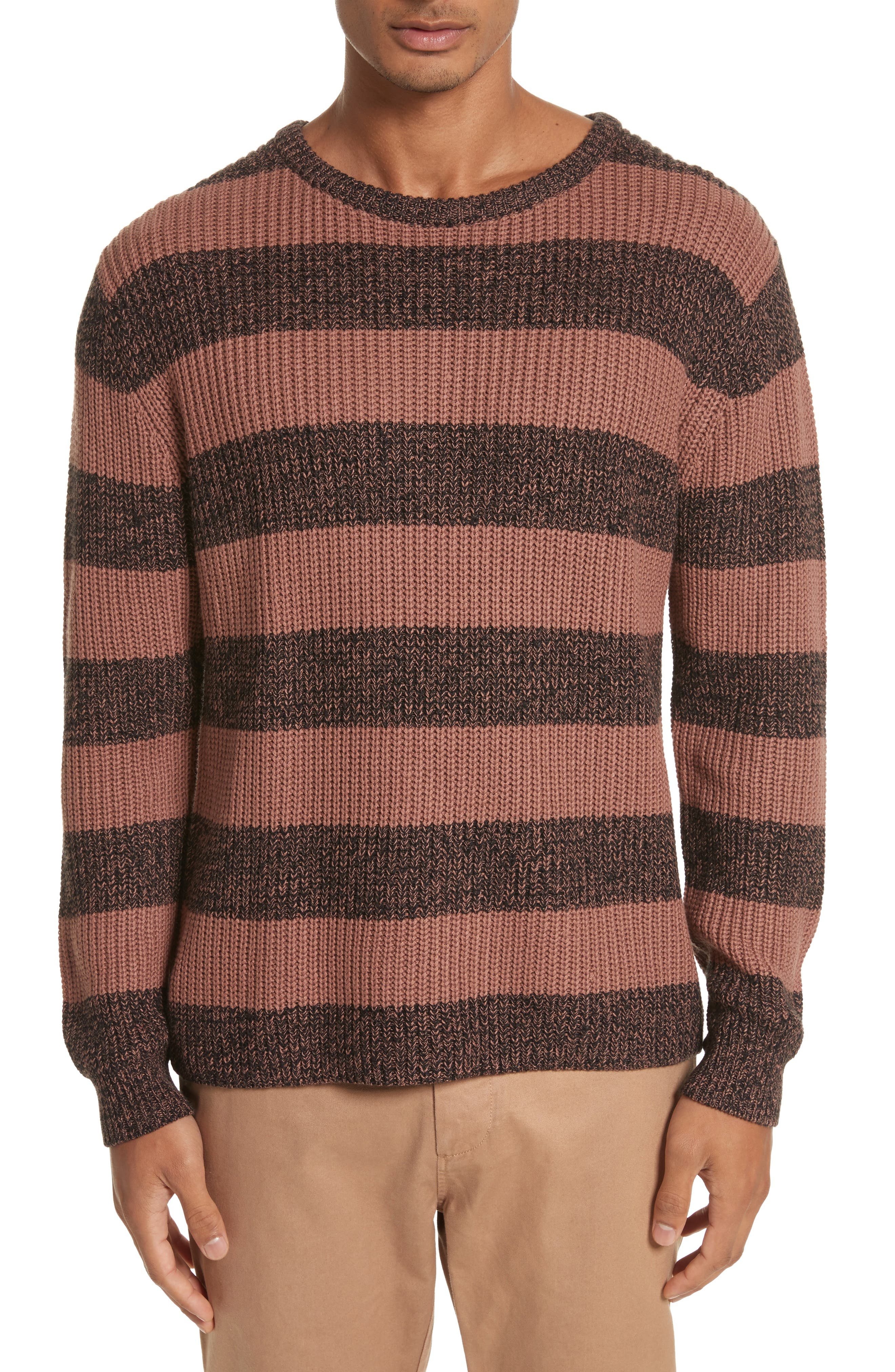 Lee Stripe Crewneck Sweater,                         Main,                         color, Bronze/Black