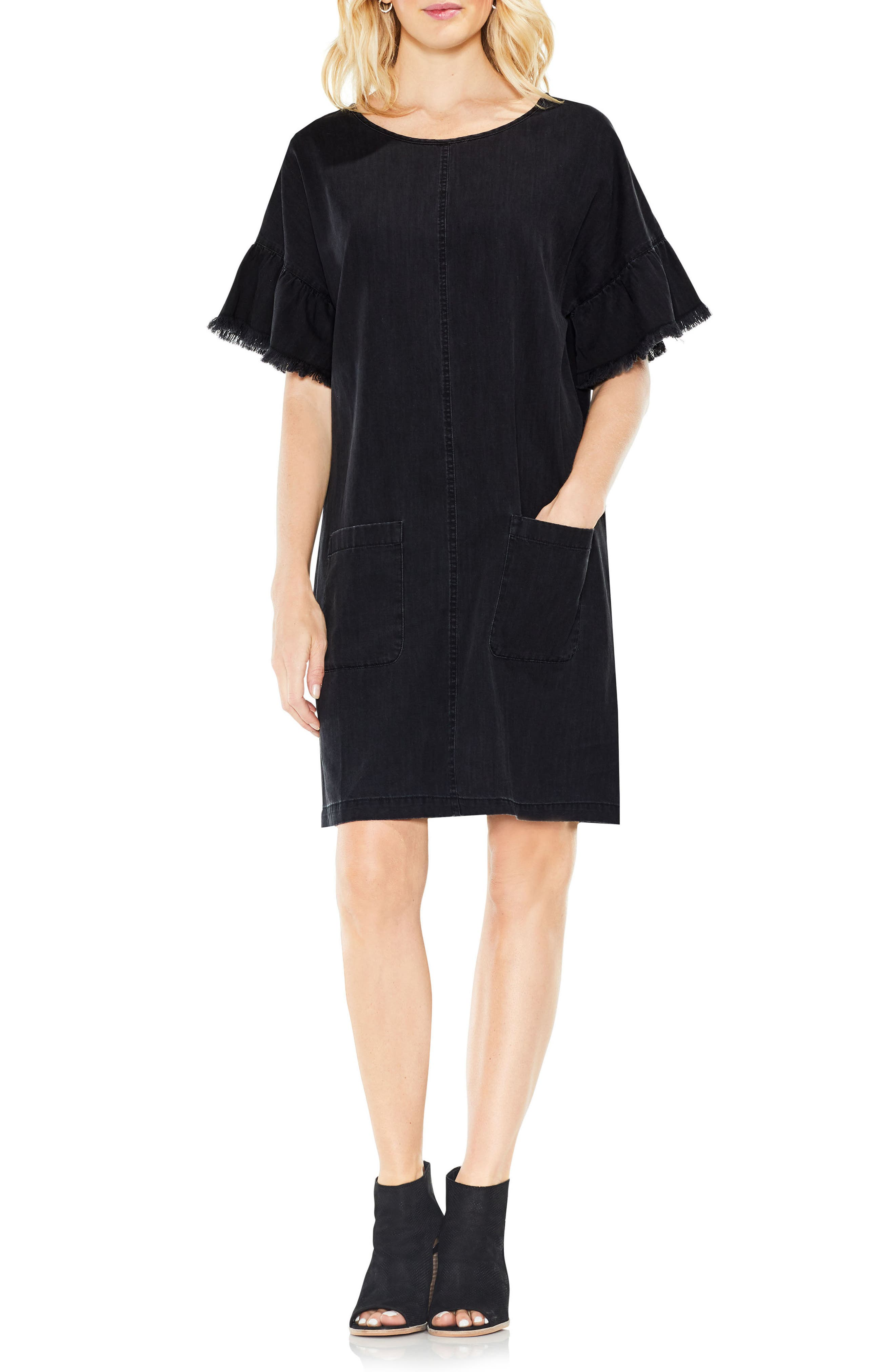 Ruffle Sleeve Denim Shift Dress,                             Alternate thumbnail 3, color,                             Rich Black