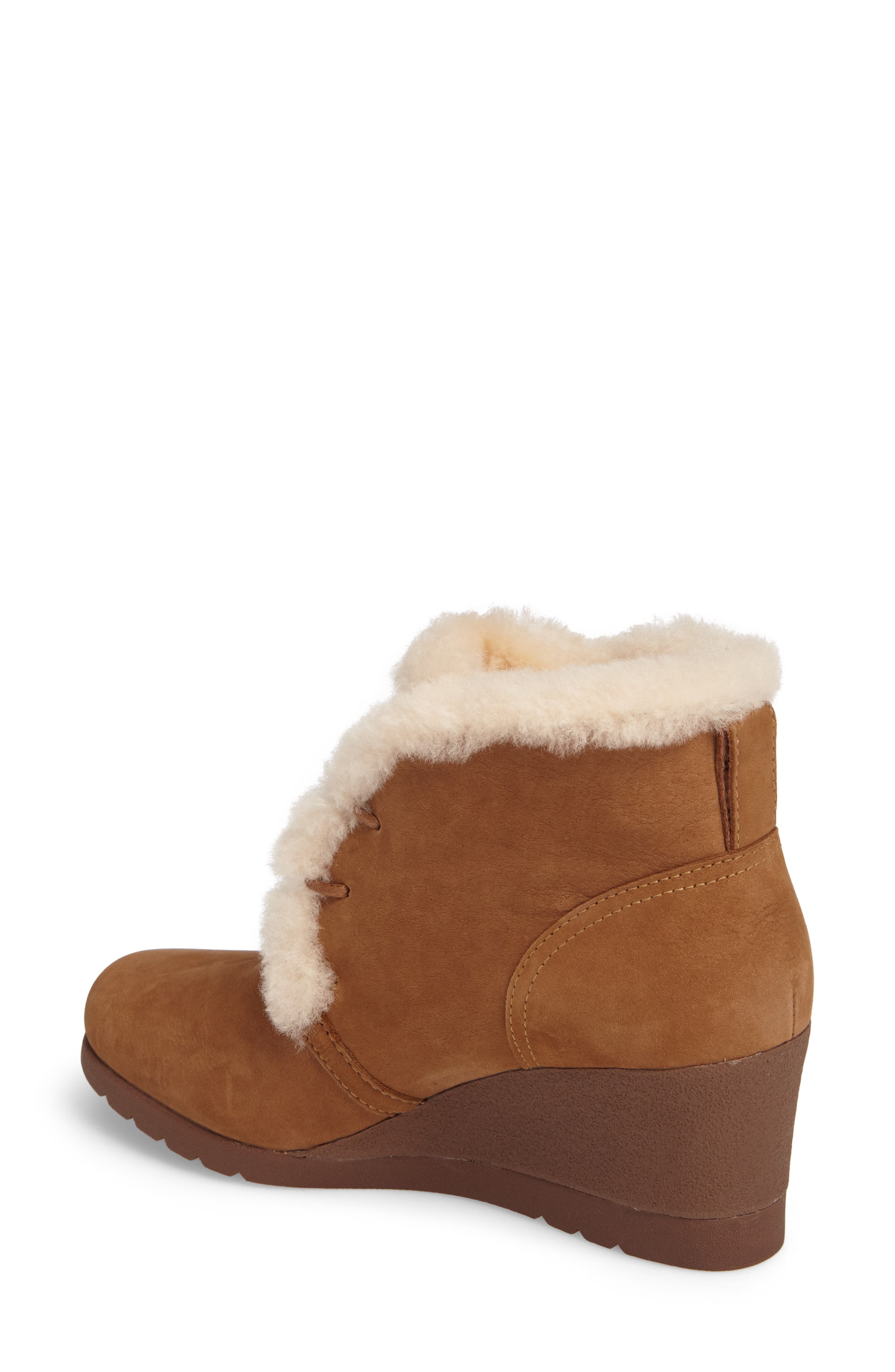 Jeovana Genuine Shearling Lined Boot,                             Alternate thumbnail 2, color,                             Chestnut Suede