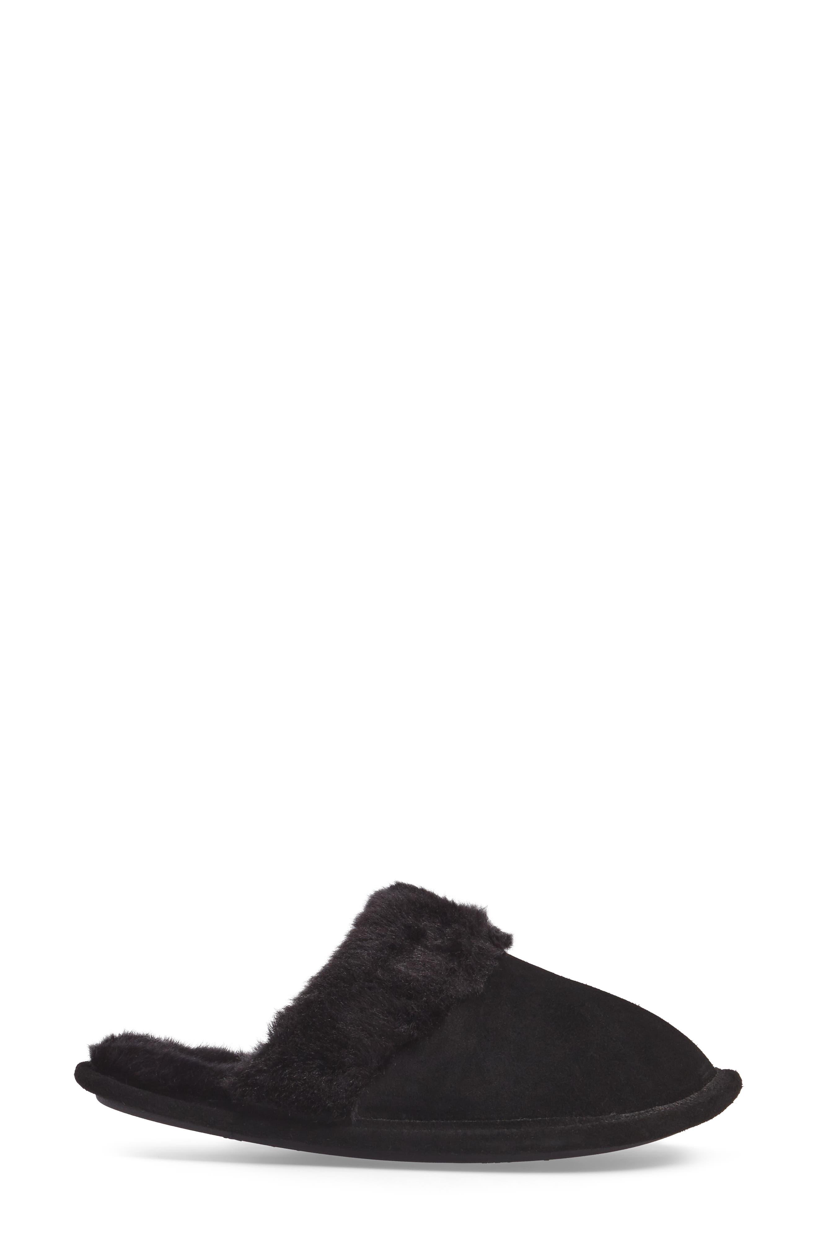 Pammy Faux Fur Slipper,                             Alternate thumbnail 3, color,                             Black Suede