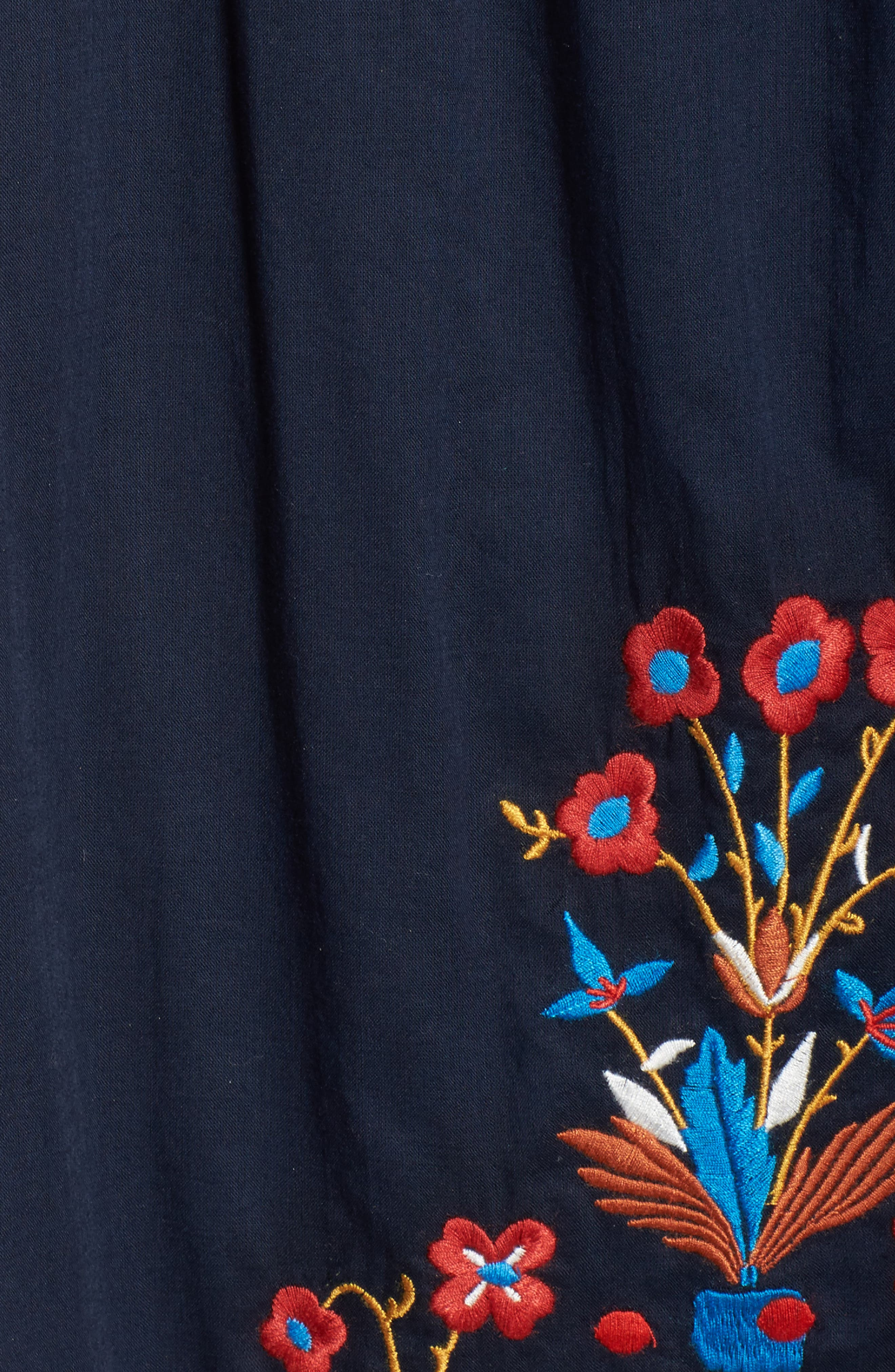 Wildflower Embroidered Off the Shoulder Cover-Up Dress,                             Alternate thumbnail 5, color,                             Tory Navy