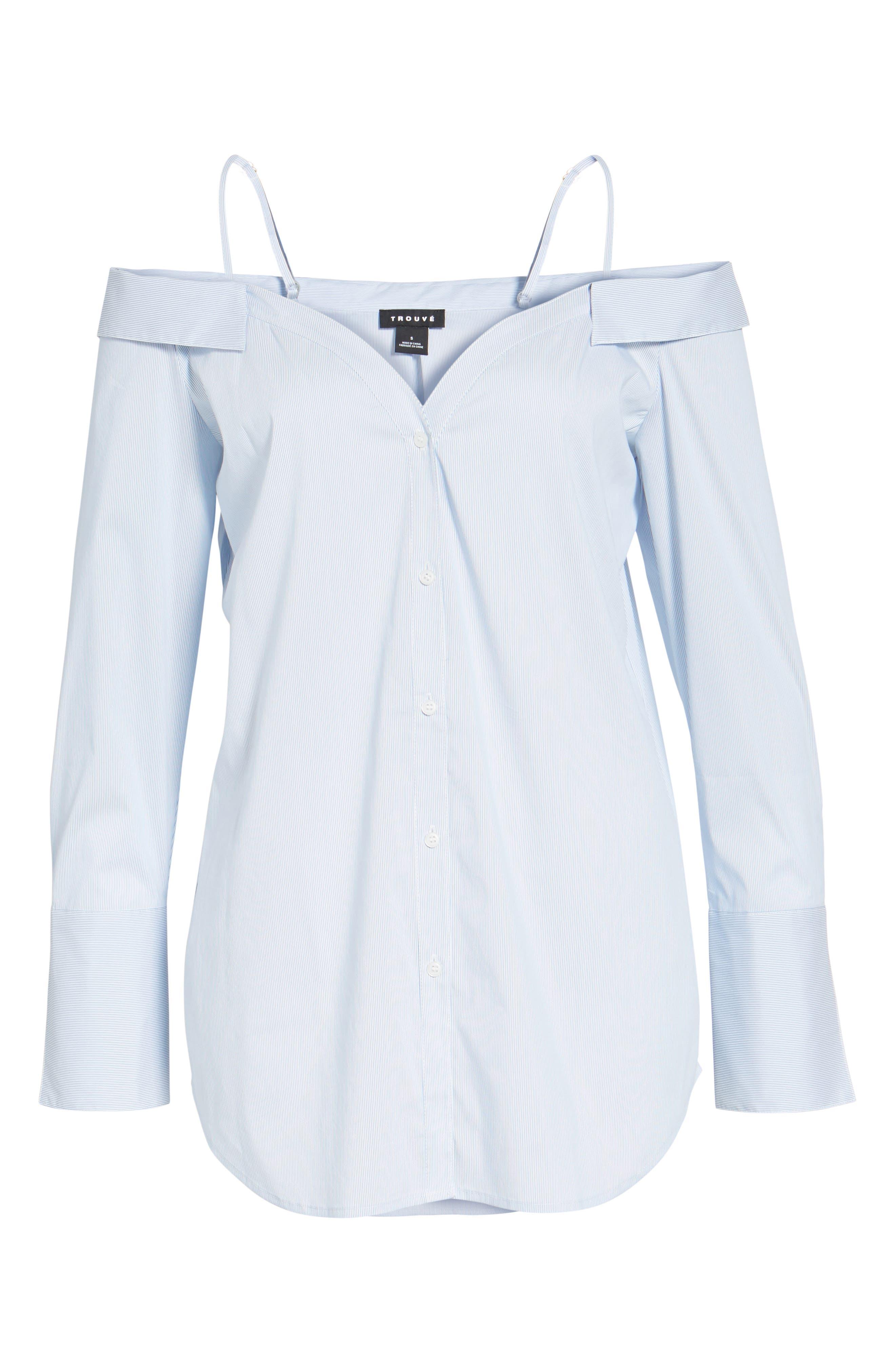 Off the Shoulder Stretch Poplin Shirt,                             Alternate thumbnail 6, color,                             Blue- White Mini Stripe