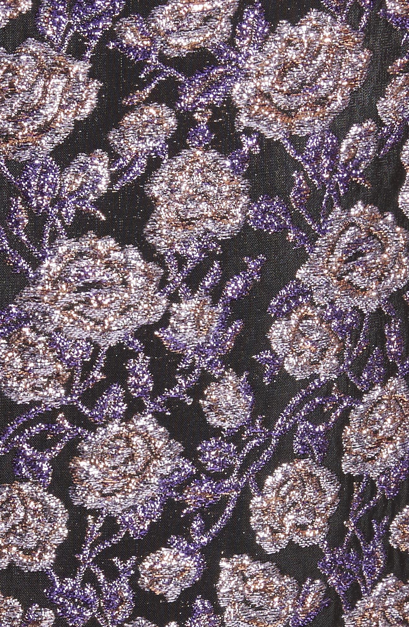 Metallic Jacquard Pencil Skirt,                             Alternate thumbnail 5, color,                             Purple Multi