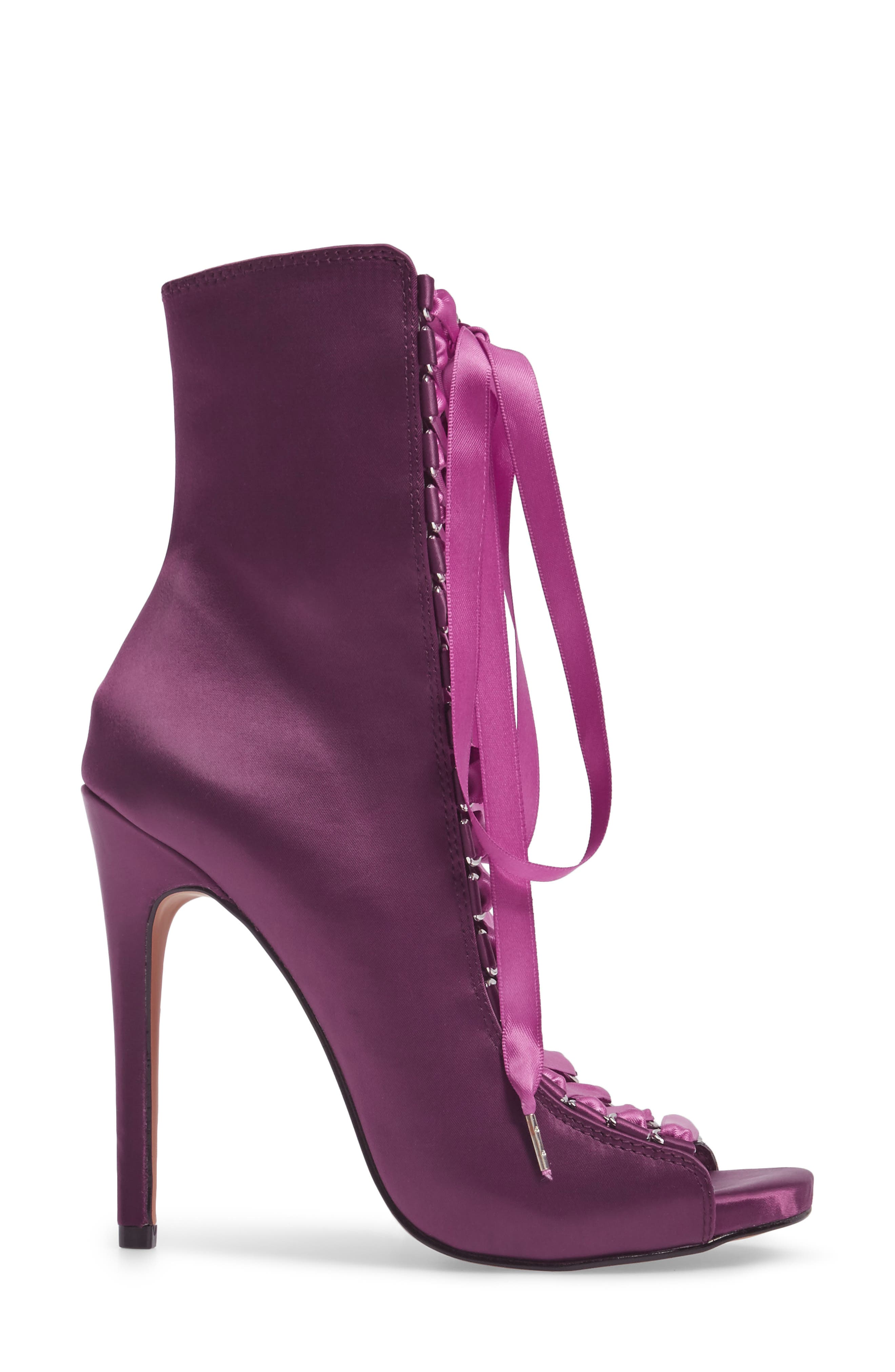 Fuego Lace-Up Bootie,                             Alternate thumbnail 3, color,                             Dark Purple