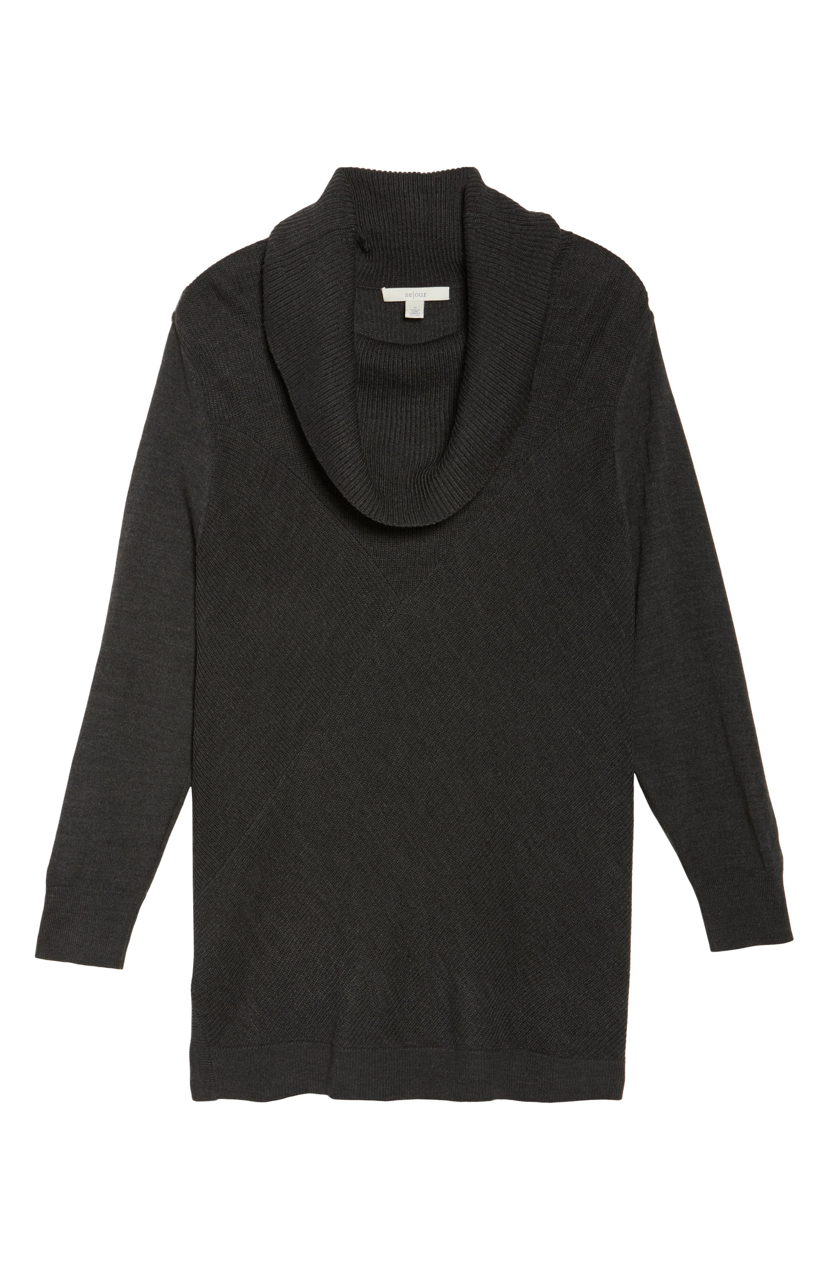 Cowl Neck Ribbed Trim Pullover,                             Alternate thumbnail 6, color,                             Grey Dark Charcoal Heather