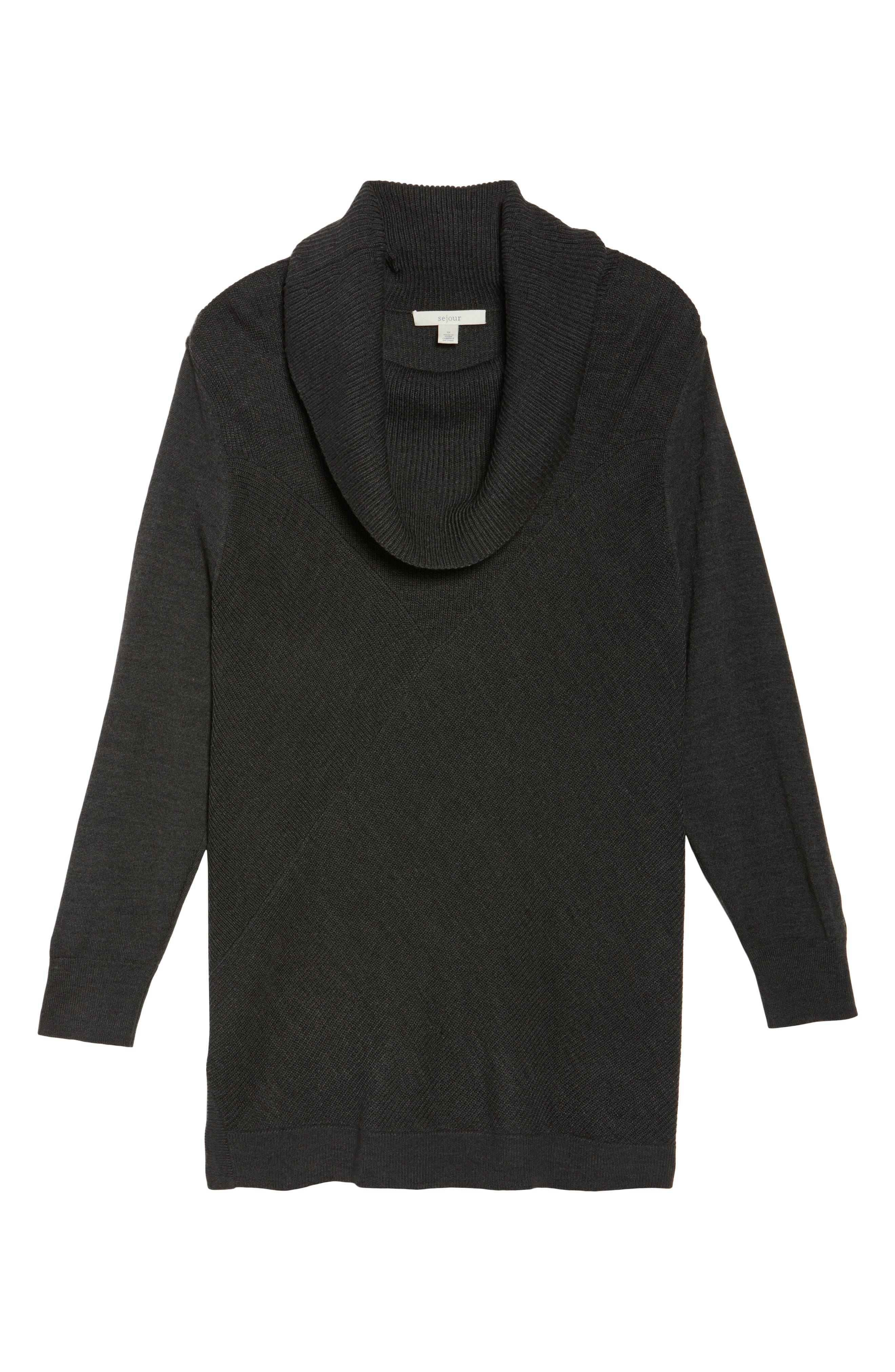 Alternate Image 6  - Sejour Cowl Neck Ribbed Trim Pullover (Plus Size)