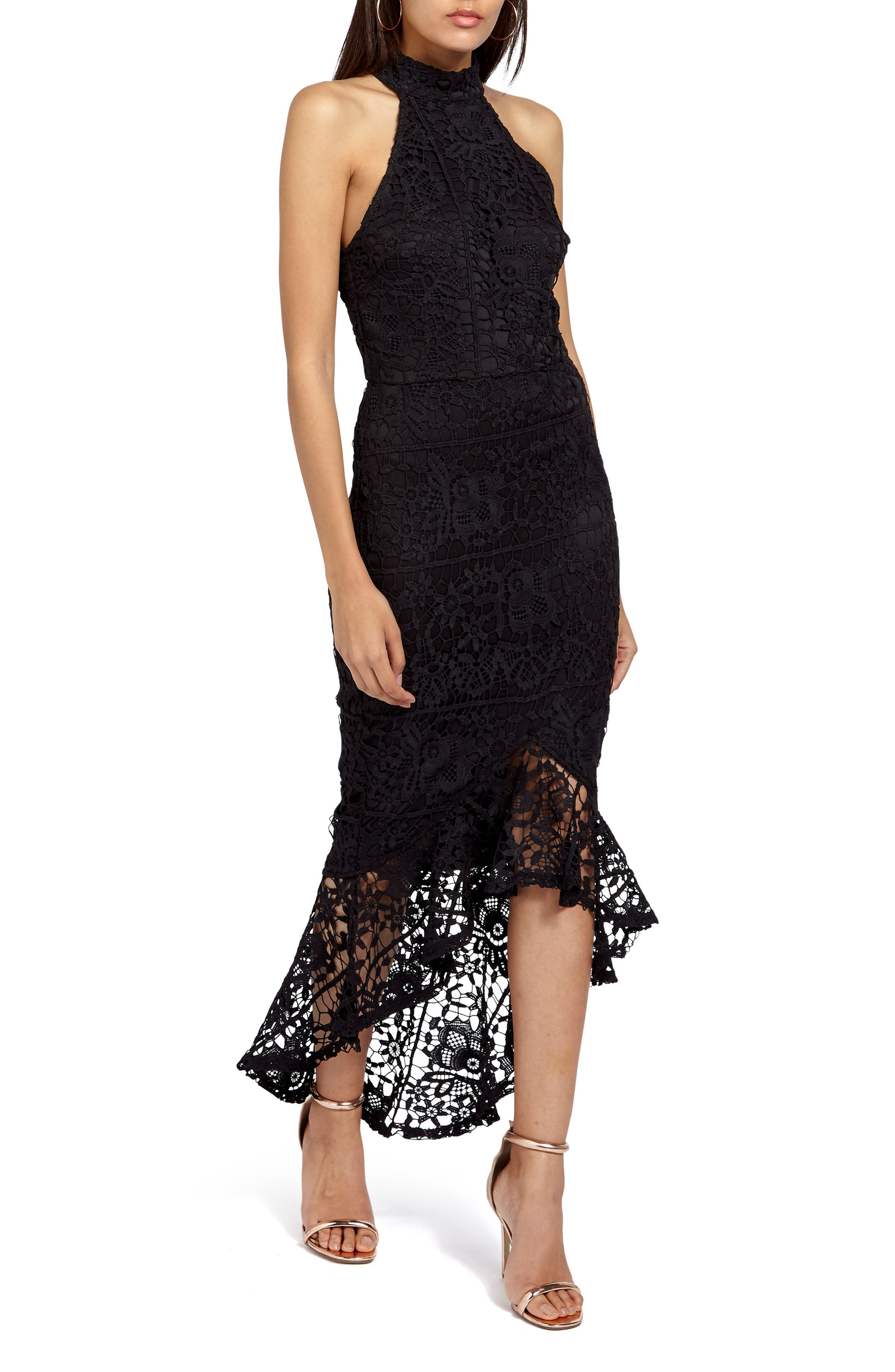 Main Image - Missguided Lace Fishtail Body-Con Dress