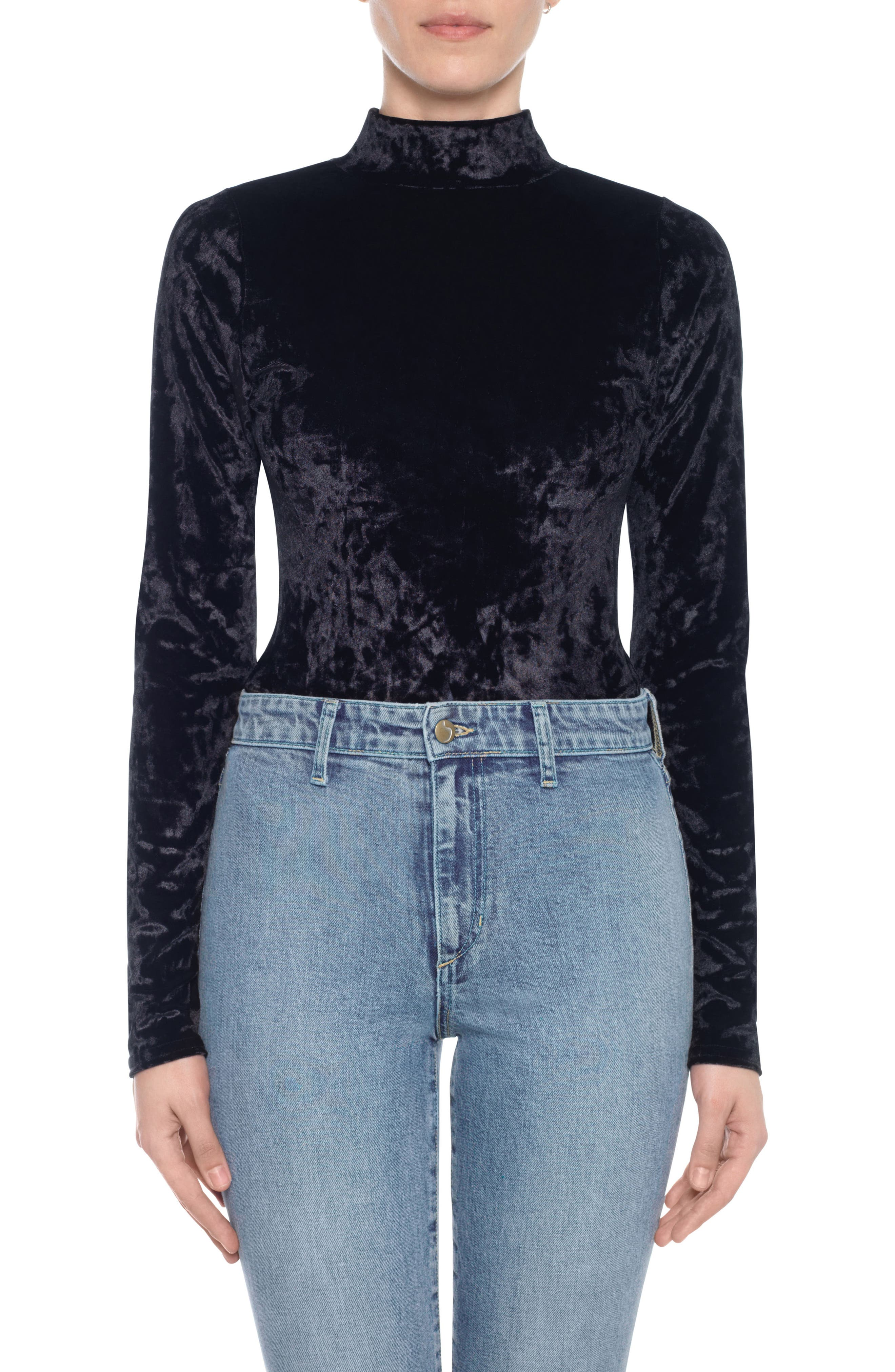 Taylor Hill x Joe's Mock Neck Velvet Bodysuit,                             Main thumbnail 1, color,                             Black