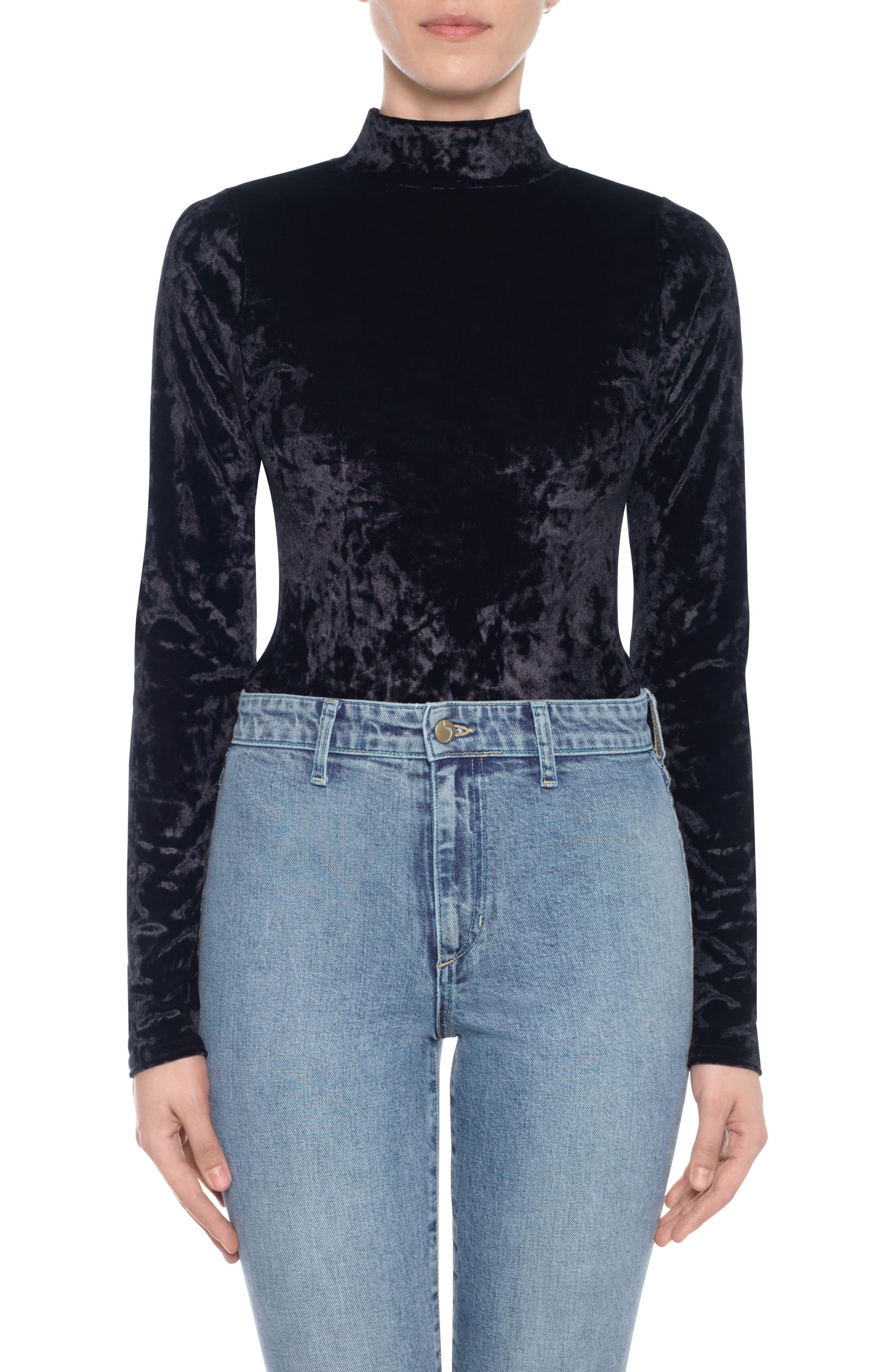 Main Image - Taylor Hill x Joe's Mock Neck Velvet Bodysuit