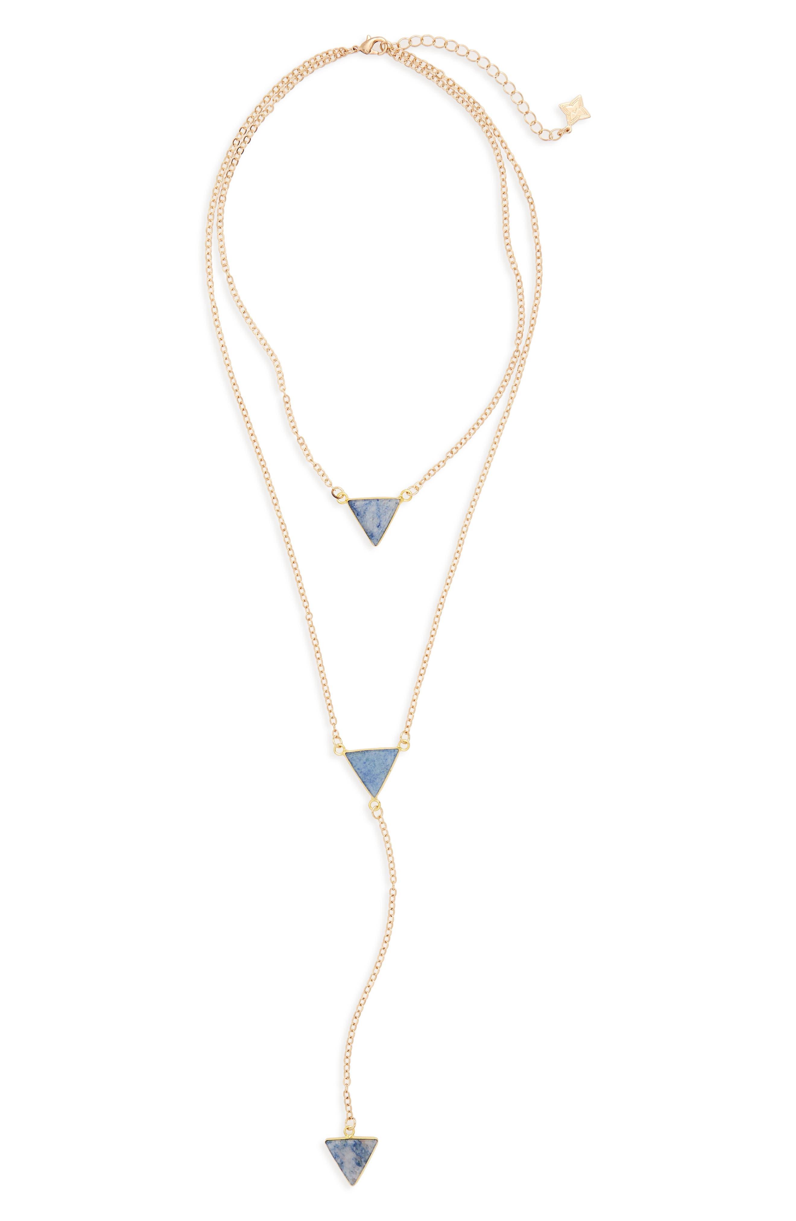Semiprecious Stone Layered Y-Necklace,                             Main thumbnail 1, color,                             Blue