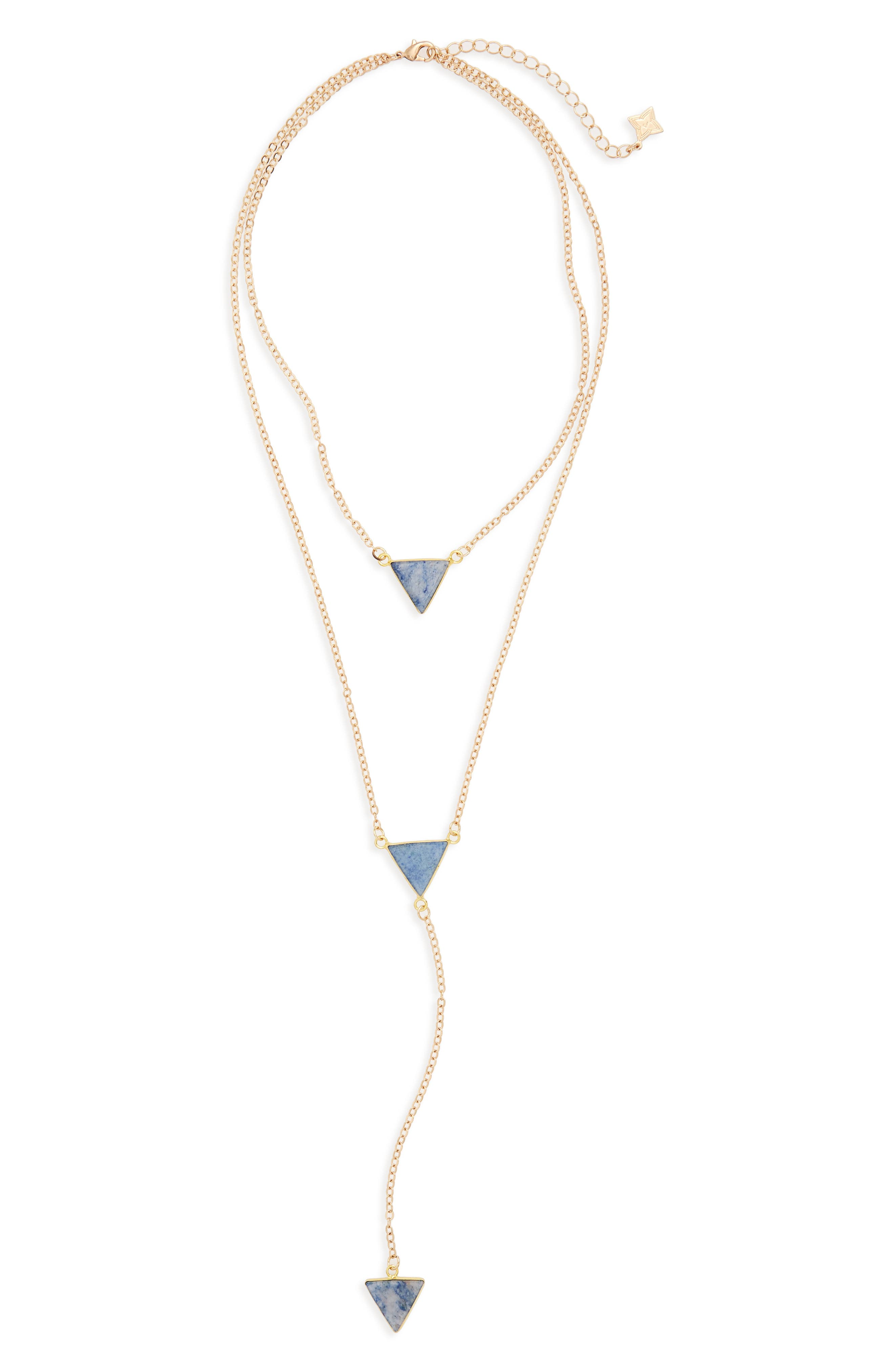 Semiprecious Stone Layered Y-Necklace,                         Main,                         color, Blue