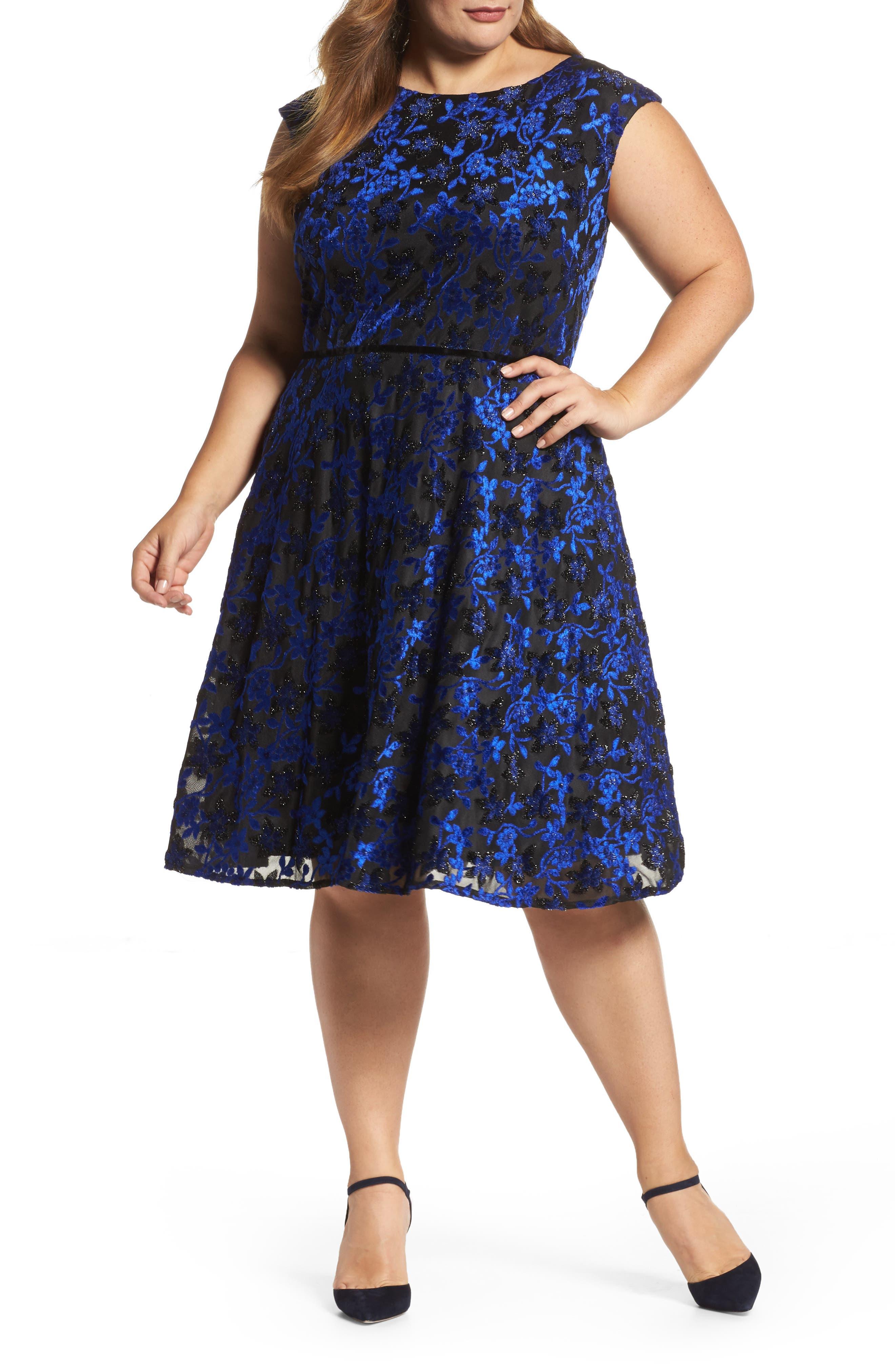 Main Image - Tahari Burnout Velvet Fit & Flare Dress (Plus Size)