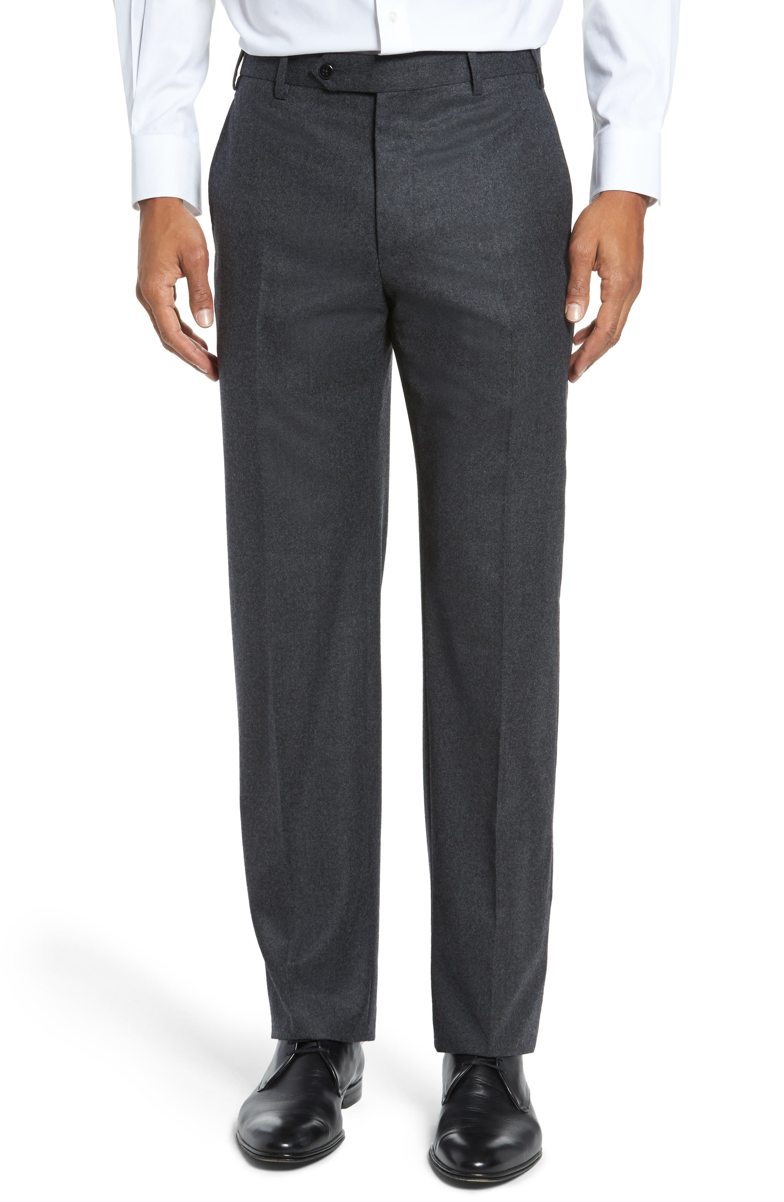 Alternate Image 1 Selected - Zanella Devon Flat Front Solid Wool Flannel Trousers