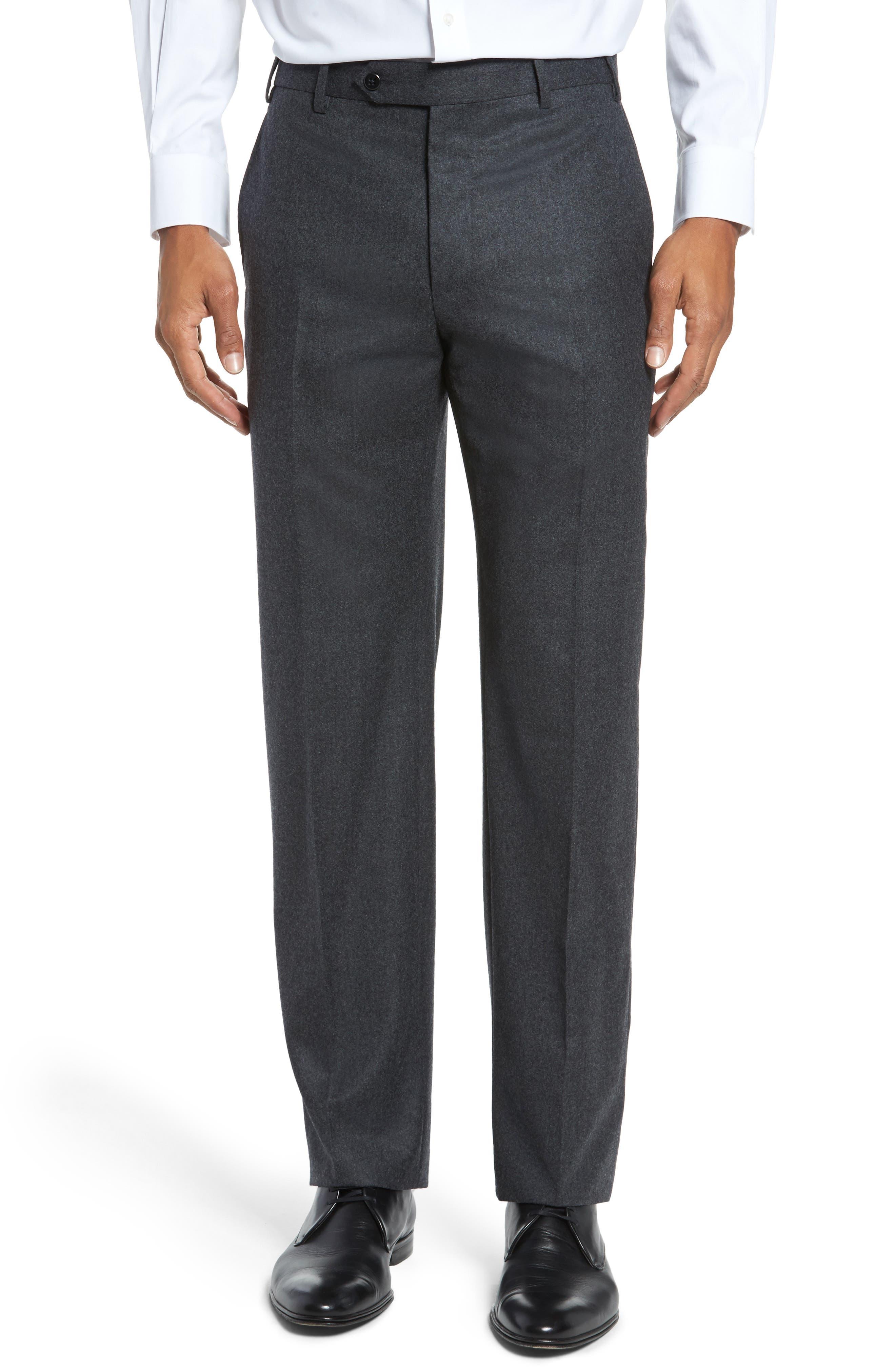 Devon Flat Front Solid Wool Flannel Trousers,                         Main,                         color, Dark Grey