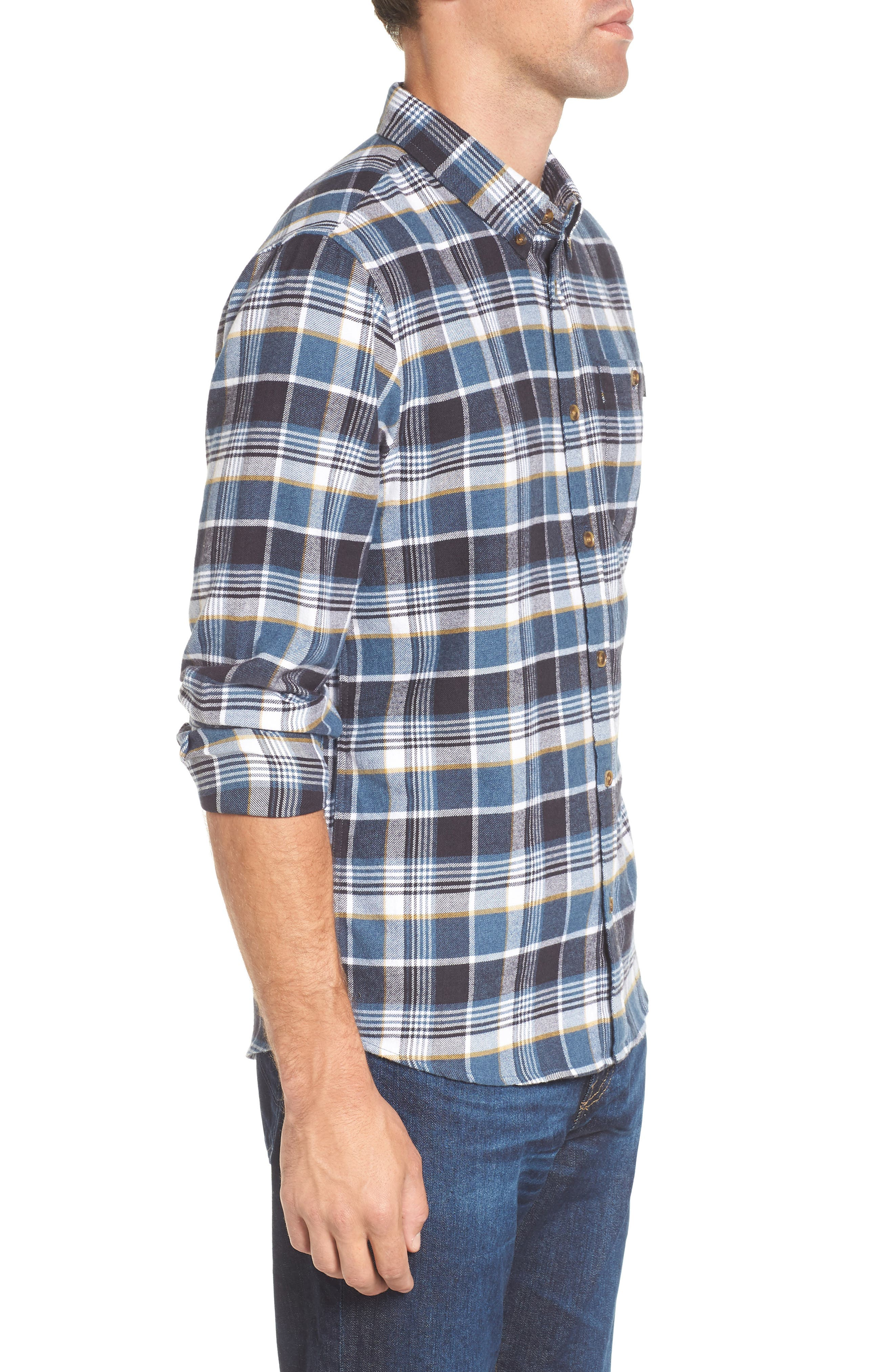 Redmond Regular Fit Plaid Flannel Shirt,                             Alternate thumbnail 3, color,                             Ocean