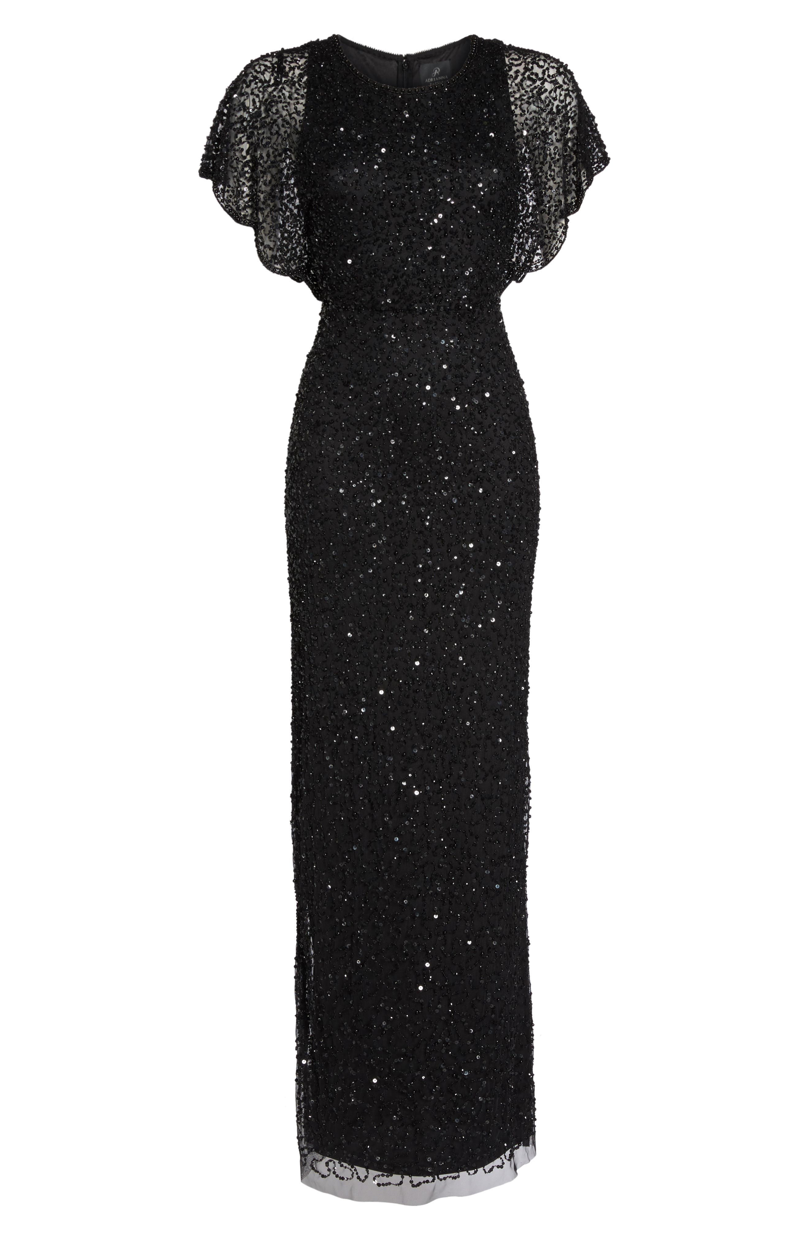 Alternate Image 6  - Adrianna Papell Beaded Flutter Sleeve Gown