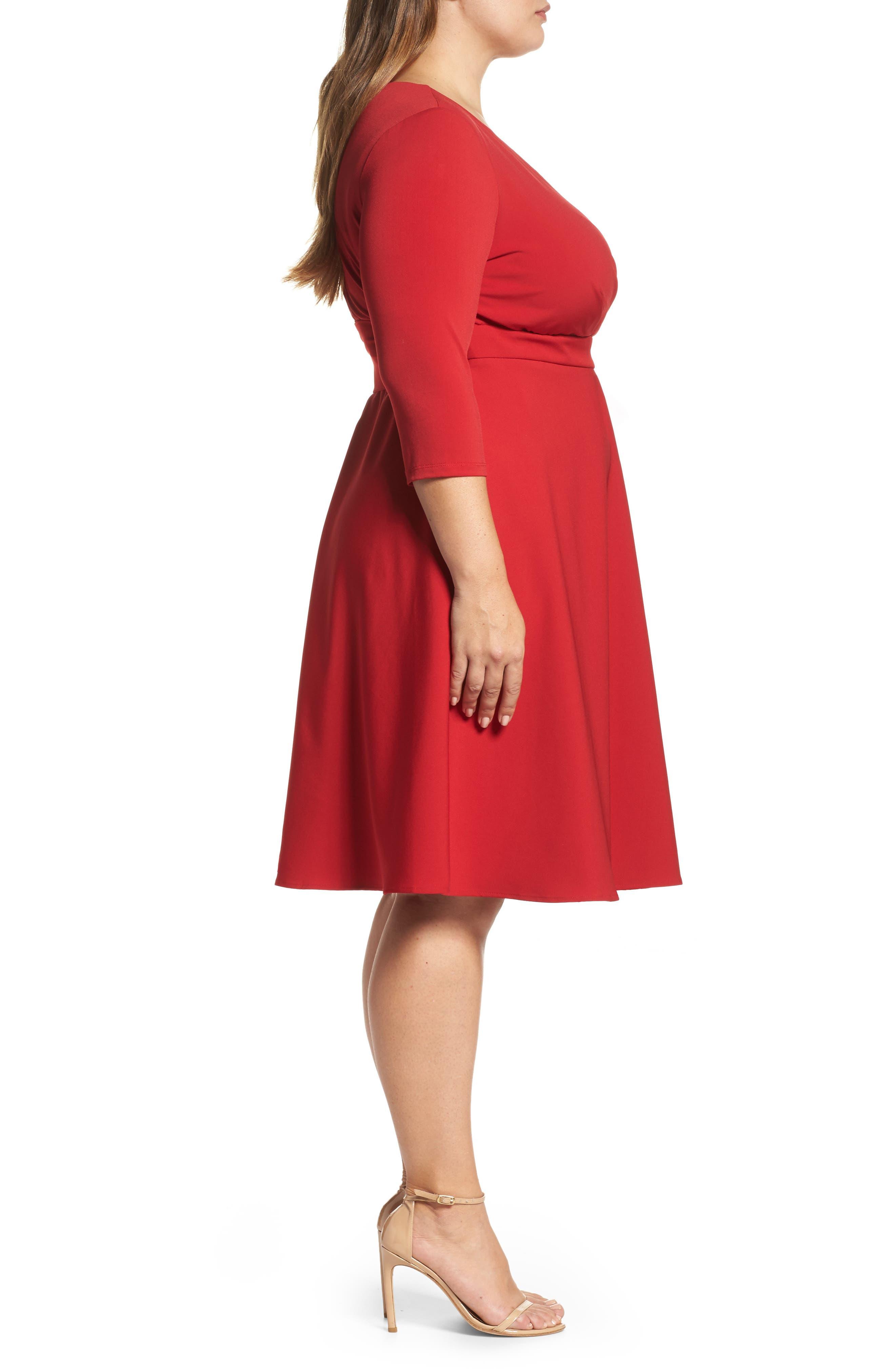 Alternate Image 3  - Sangria Fit & Flare Wrap Dress (Plus Size)