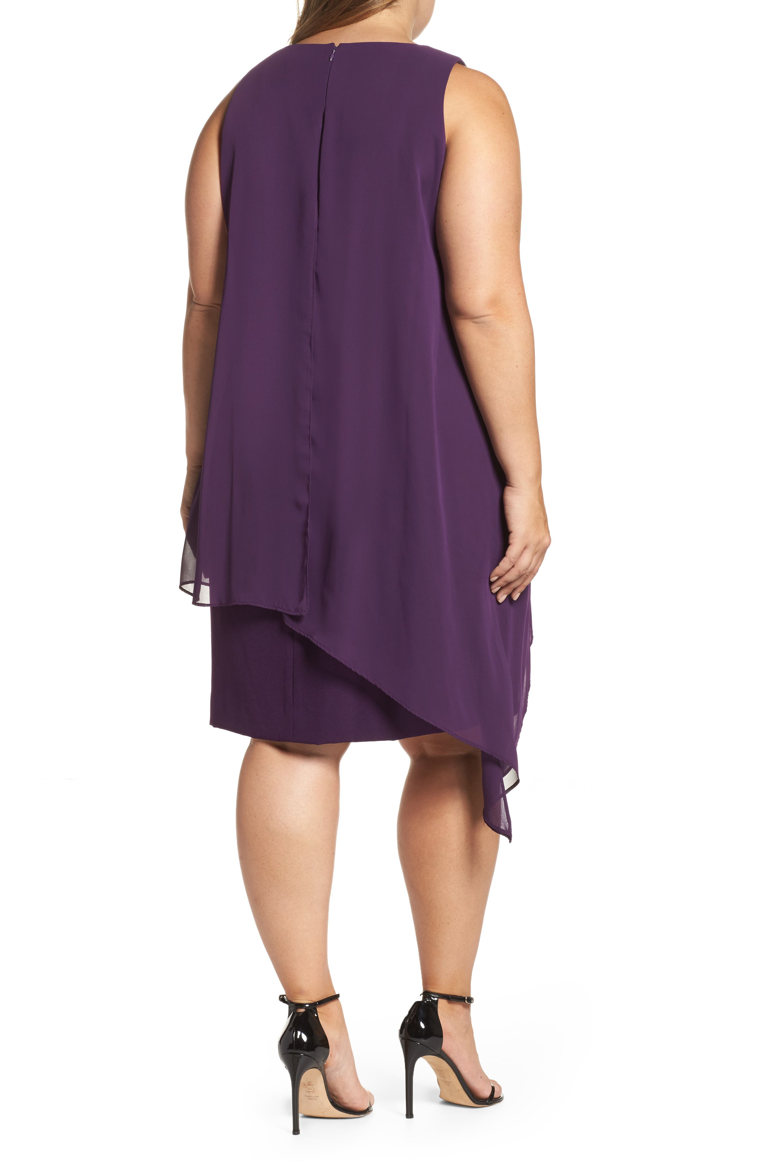 Alternate Image 2  - Tahari Chiffon Overlay Shift Dress (Plus Size)