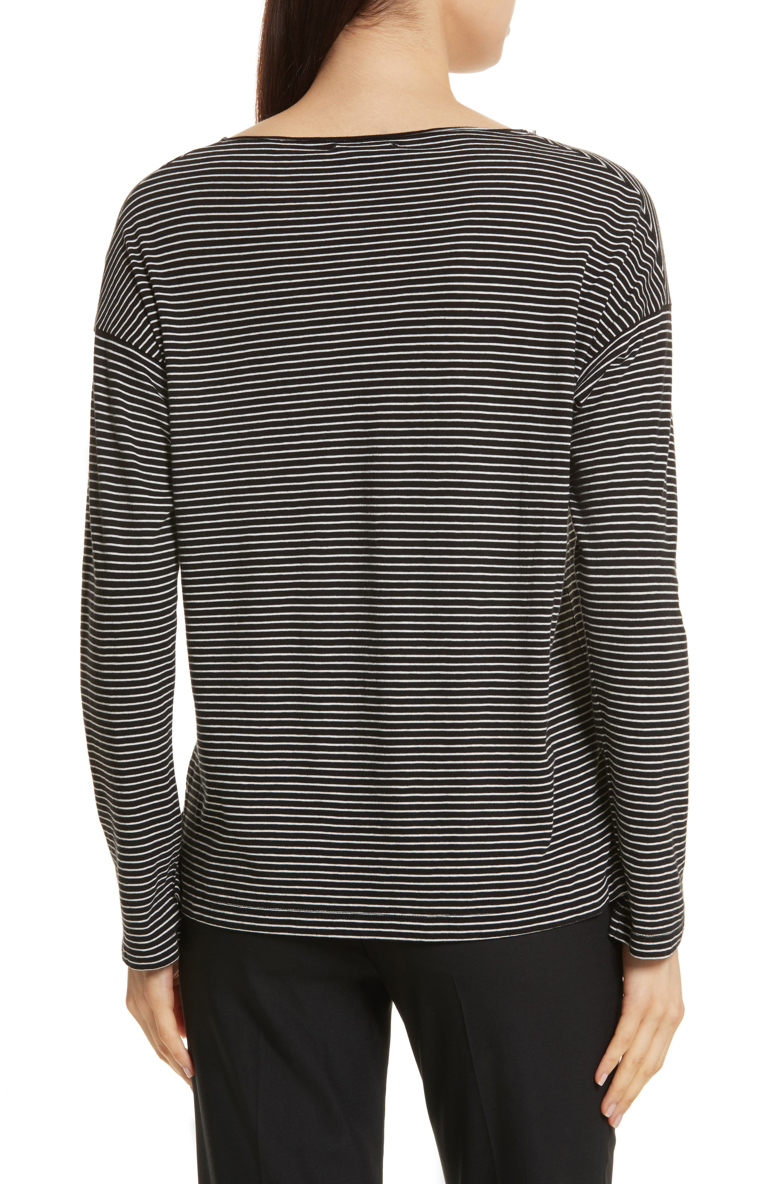 Stripe Boatneck Tee,                             Alternate thumbnail 2, color,                             Black/ Vanilla