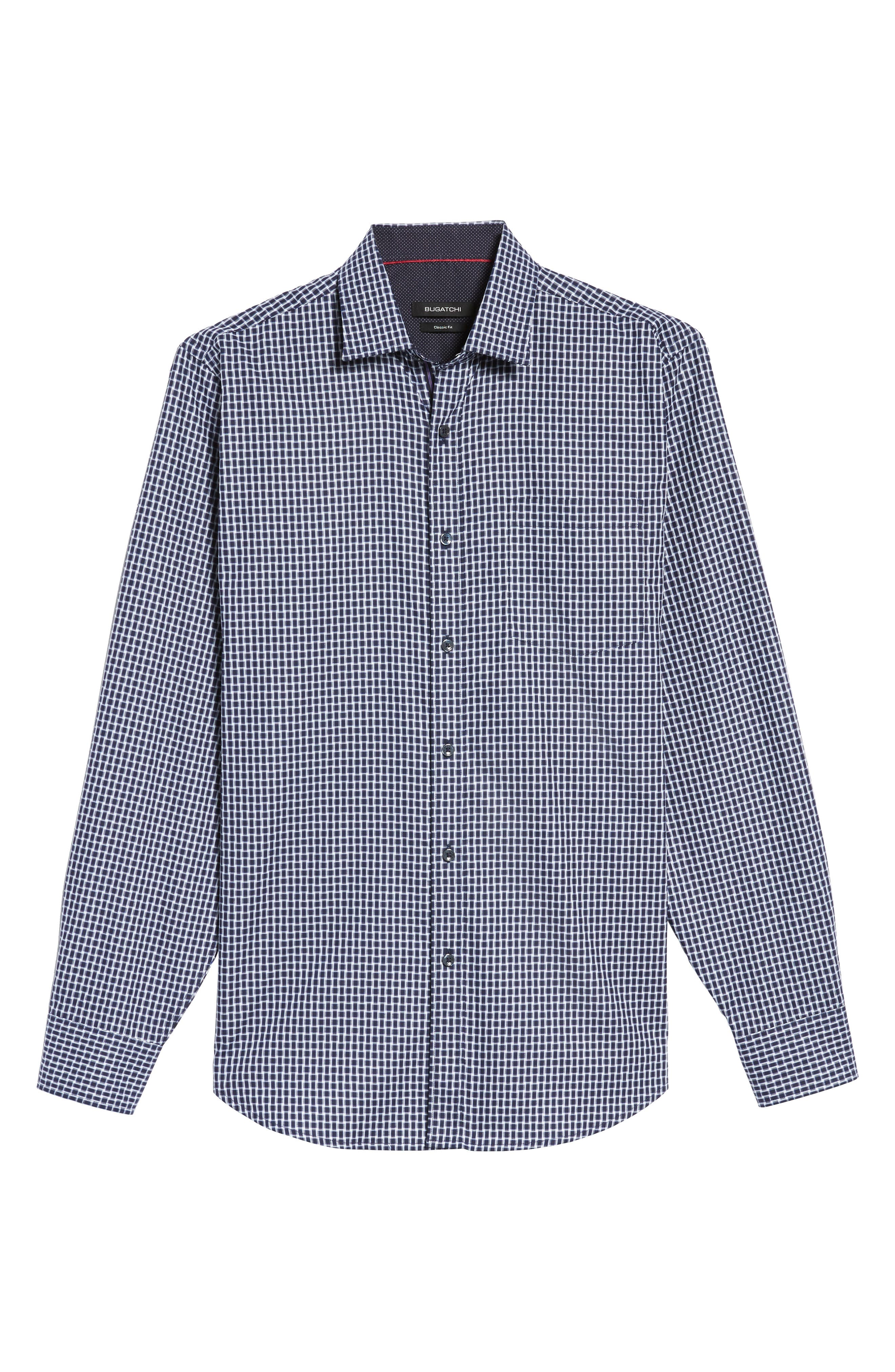Classic Fit Geo Patterned Sport Shirt,                             Alternate thumbnail 6, color,                             Navy