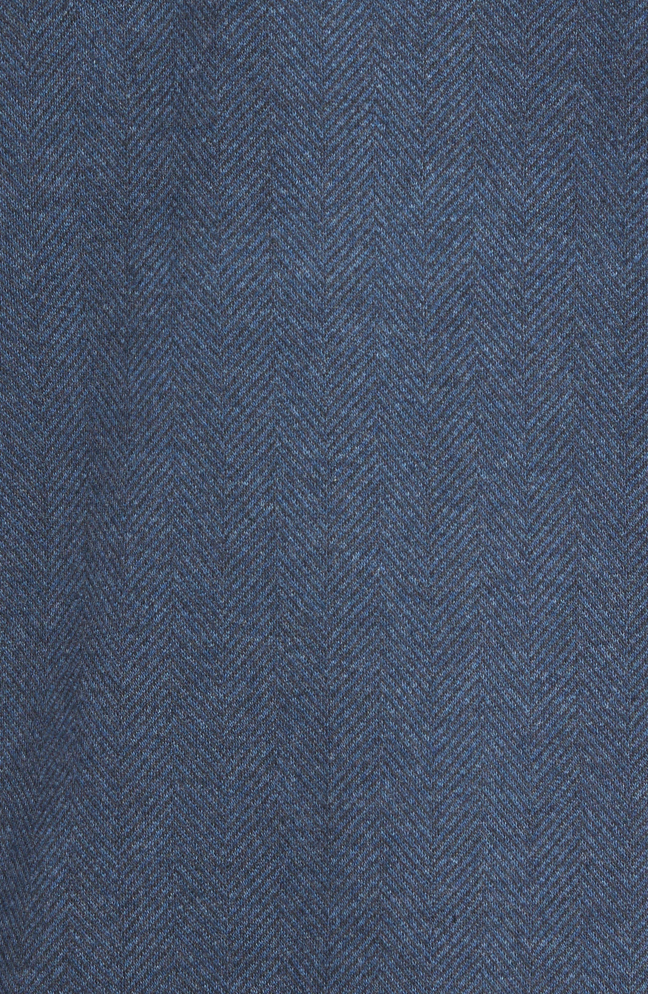 Reiner Herringbone Long Sleeve Polo,                             Alternate thumbnail 5, color,                             Denim