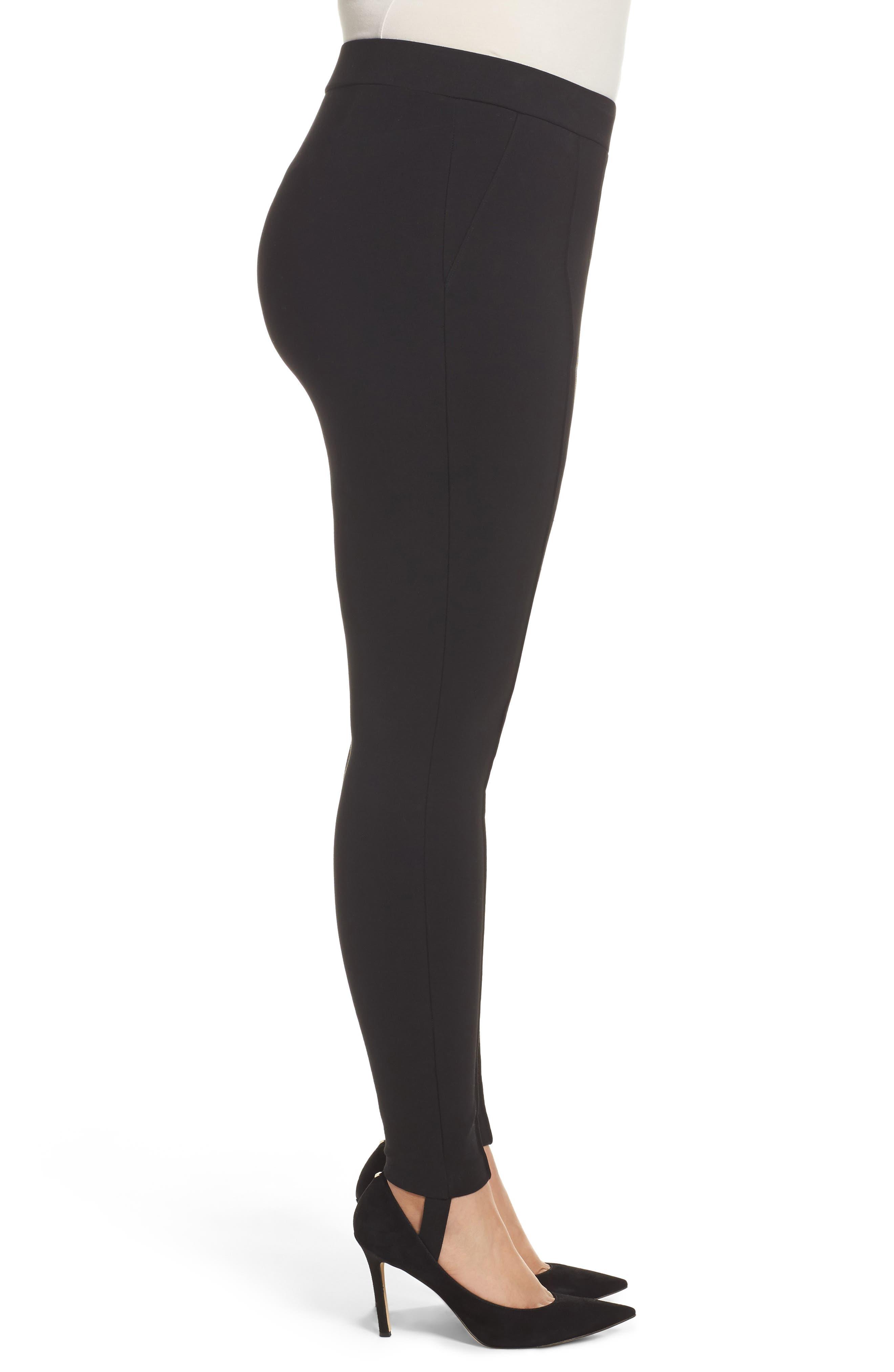 Ponte Knit Stirrup Pants,                             Alternate thumbnail 3, color,                             Black
