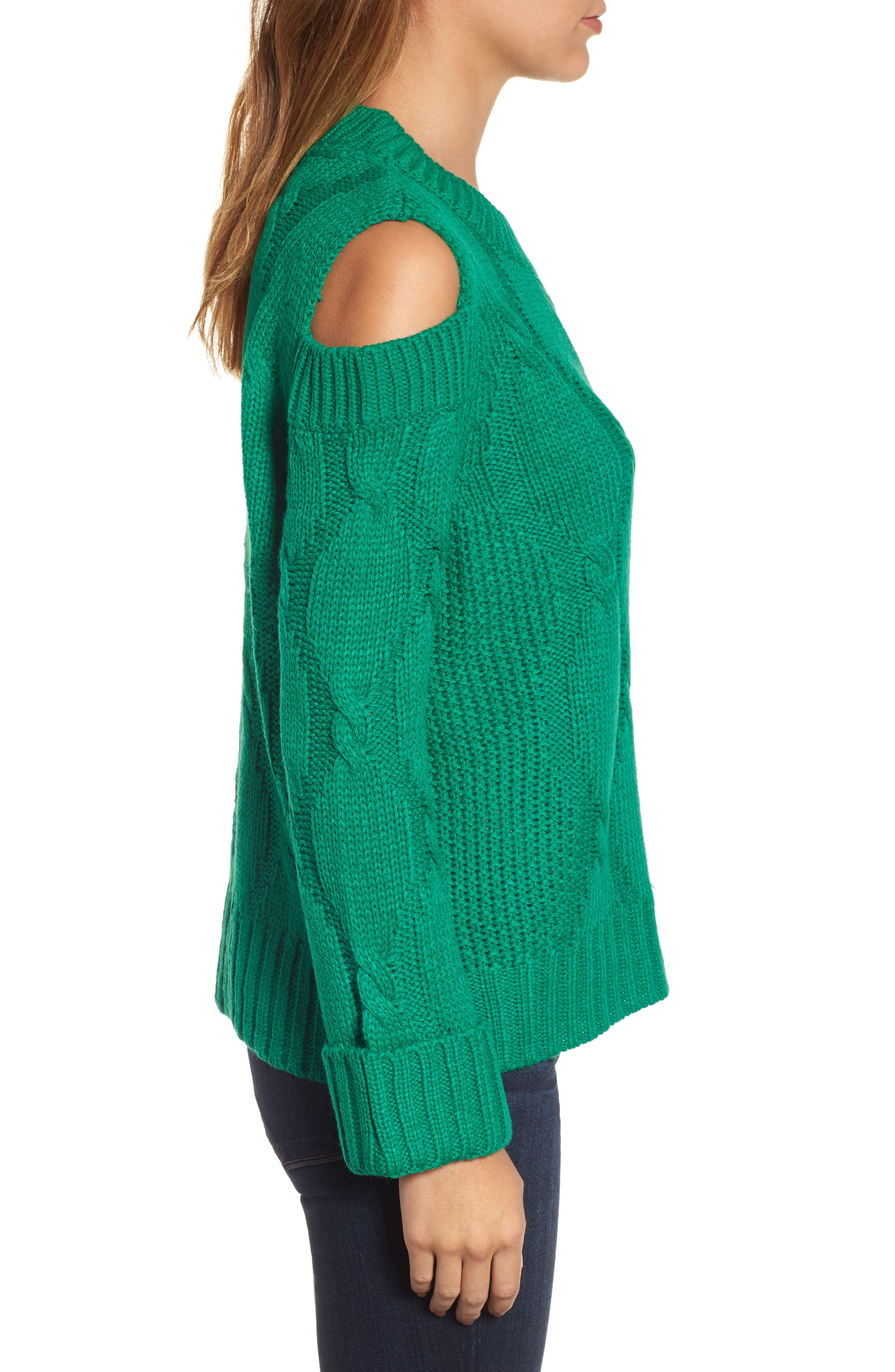 Alternate Image 3  - RDI Cold Shoulder Cable Sweater