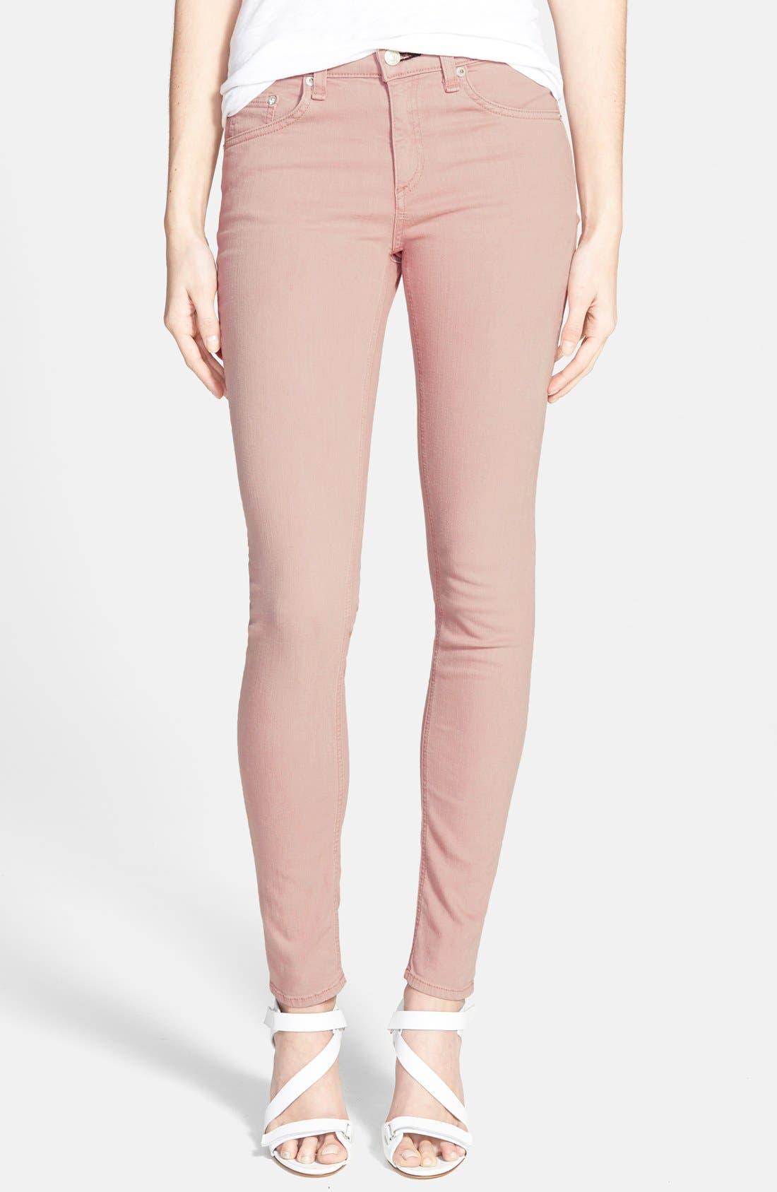 Alternate Image 1 Selected - rag & bone/JEAN 'The Skinny' Stretch Skinny Jeans (Rose)