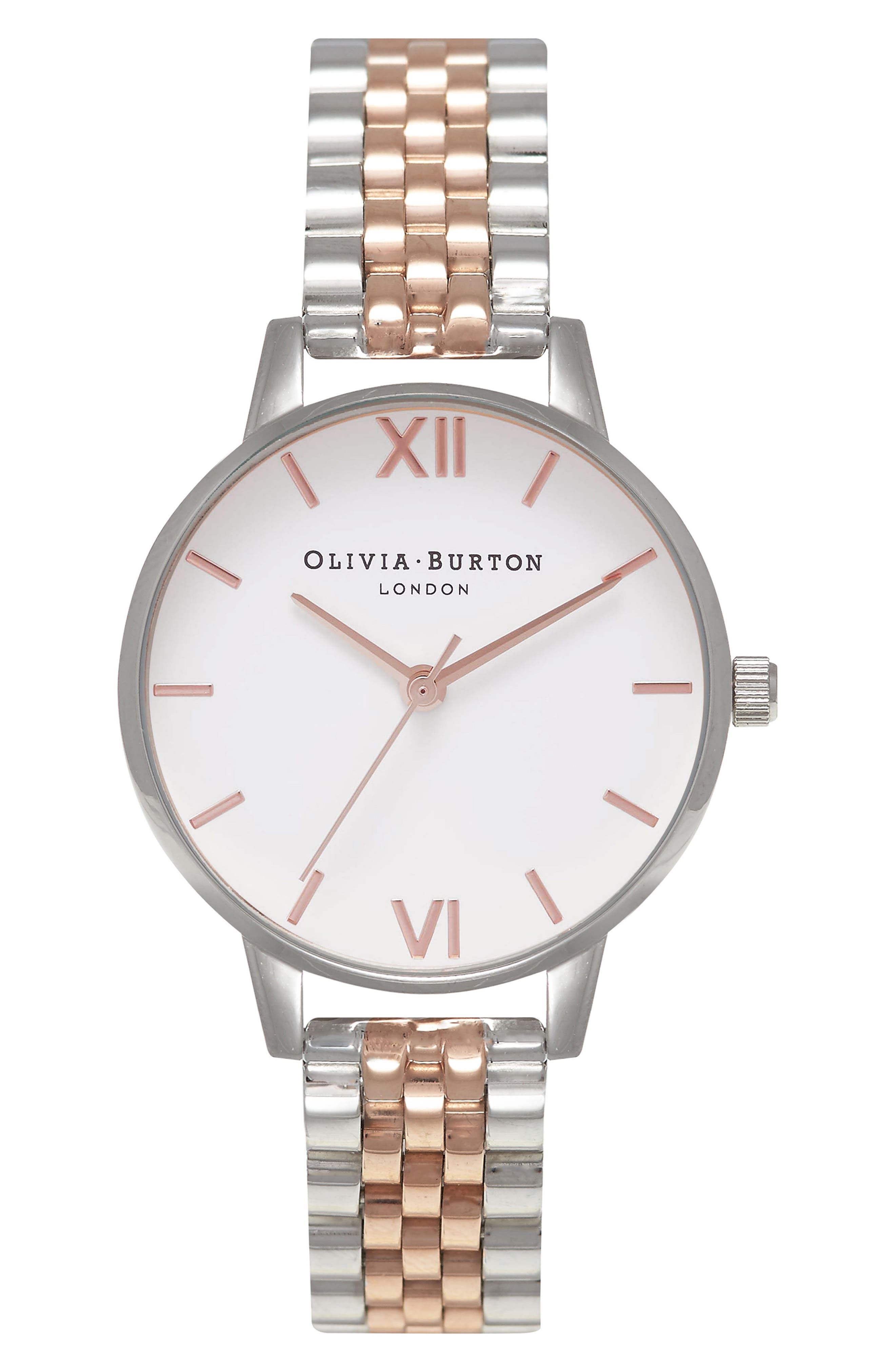 Midi Round Bracelet Watch, 30mm,                         Main,                         color, Silver/ White/ Rose Gold