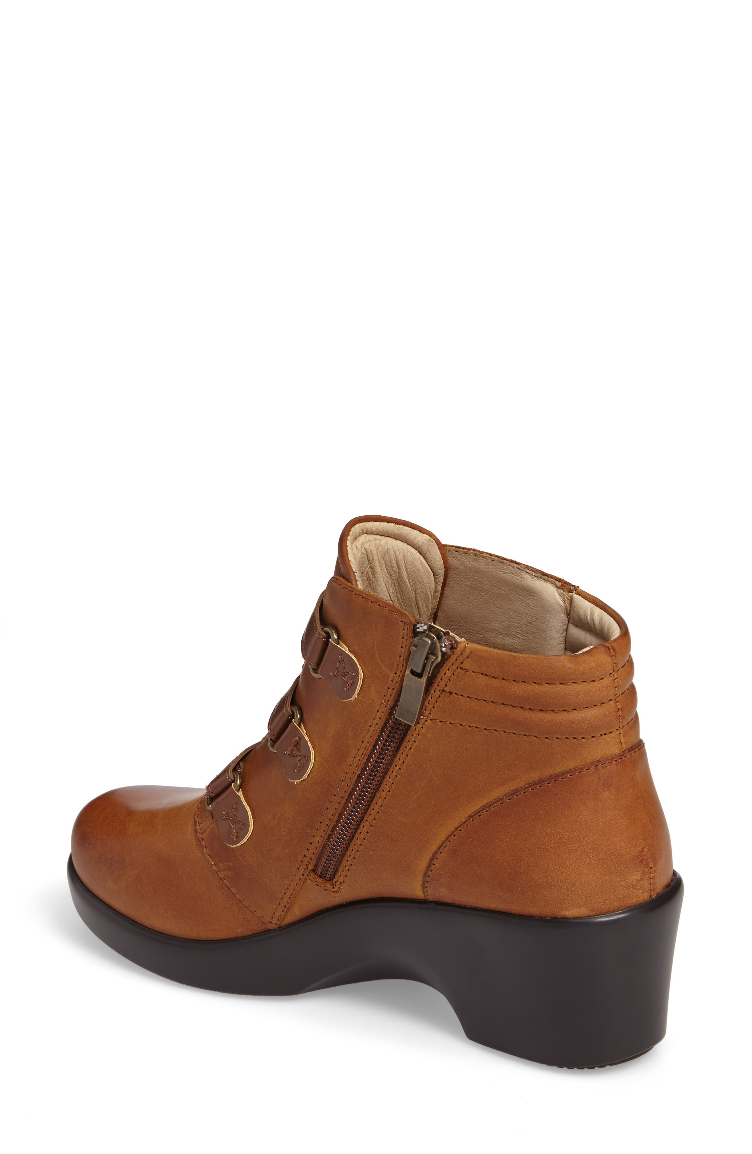 Indi Demi Wedge Bootie,                             Alternate thumbnail 2, color,                             Walnut Leather