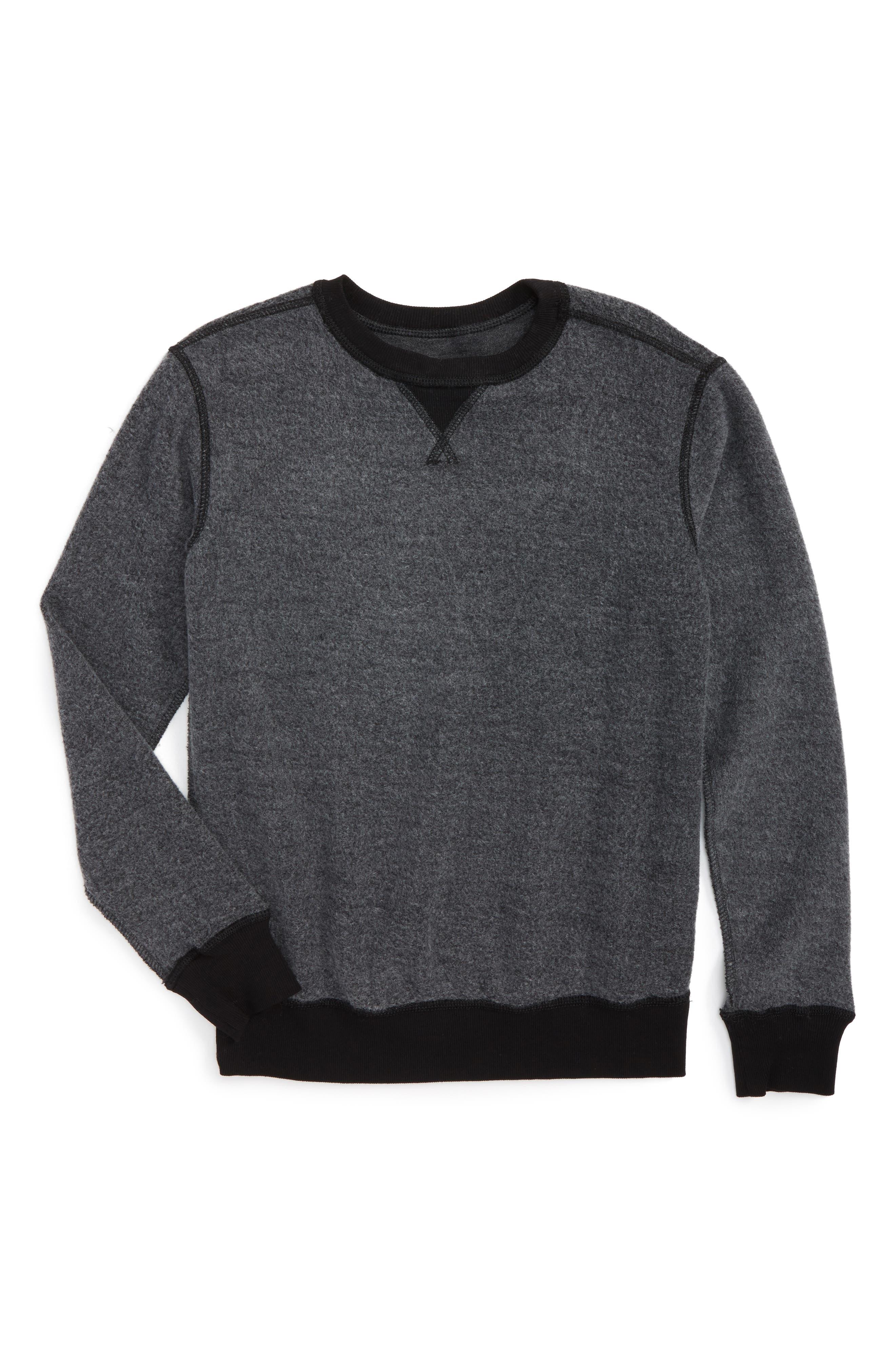 Reverse Crewneck Sweatshirt,                         Main,                         color, Grey Charcoal Heather