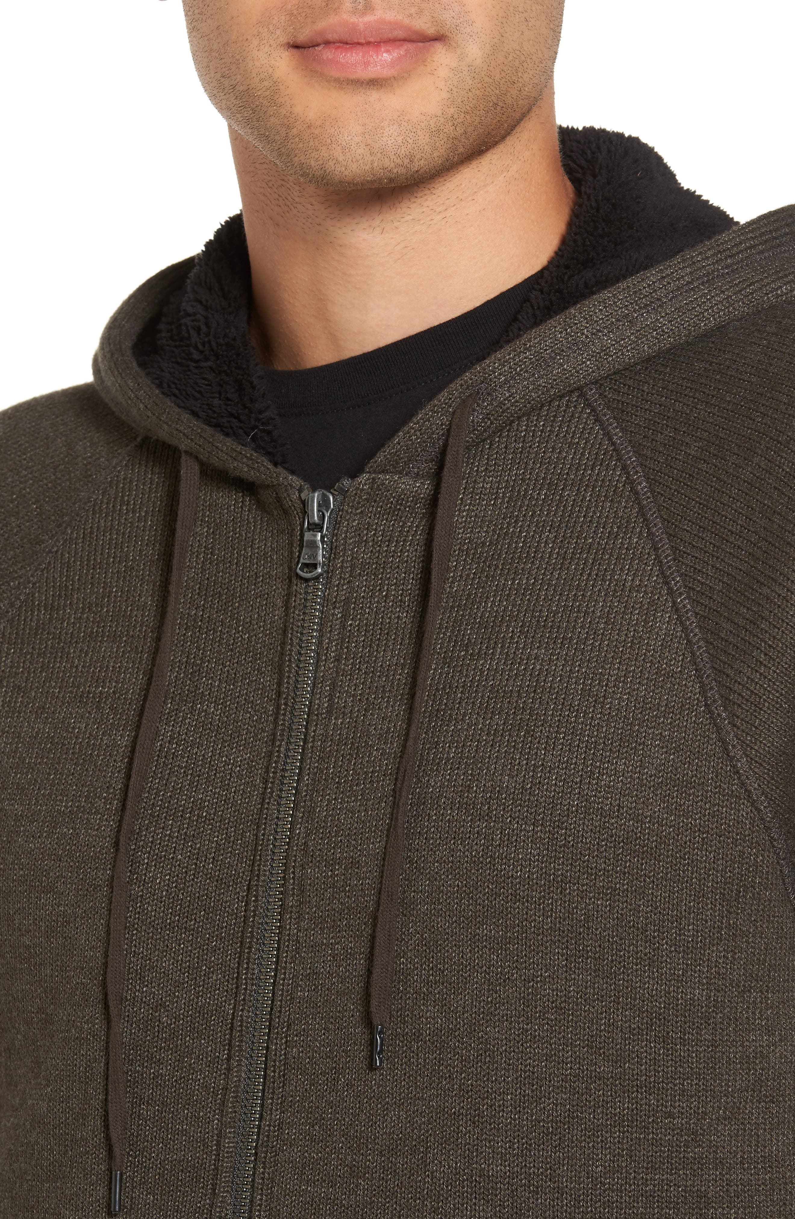 Fleece Lined Zip Hoodie,                             Alternate thumbnail 4, color,                             Olive Branch