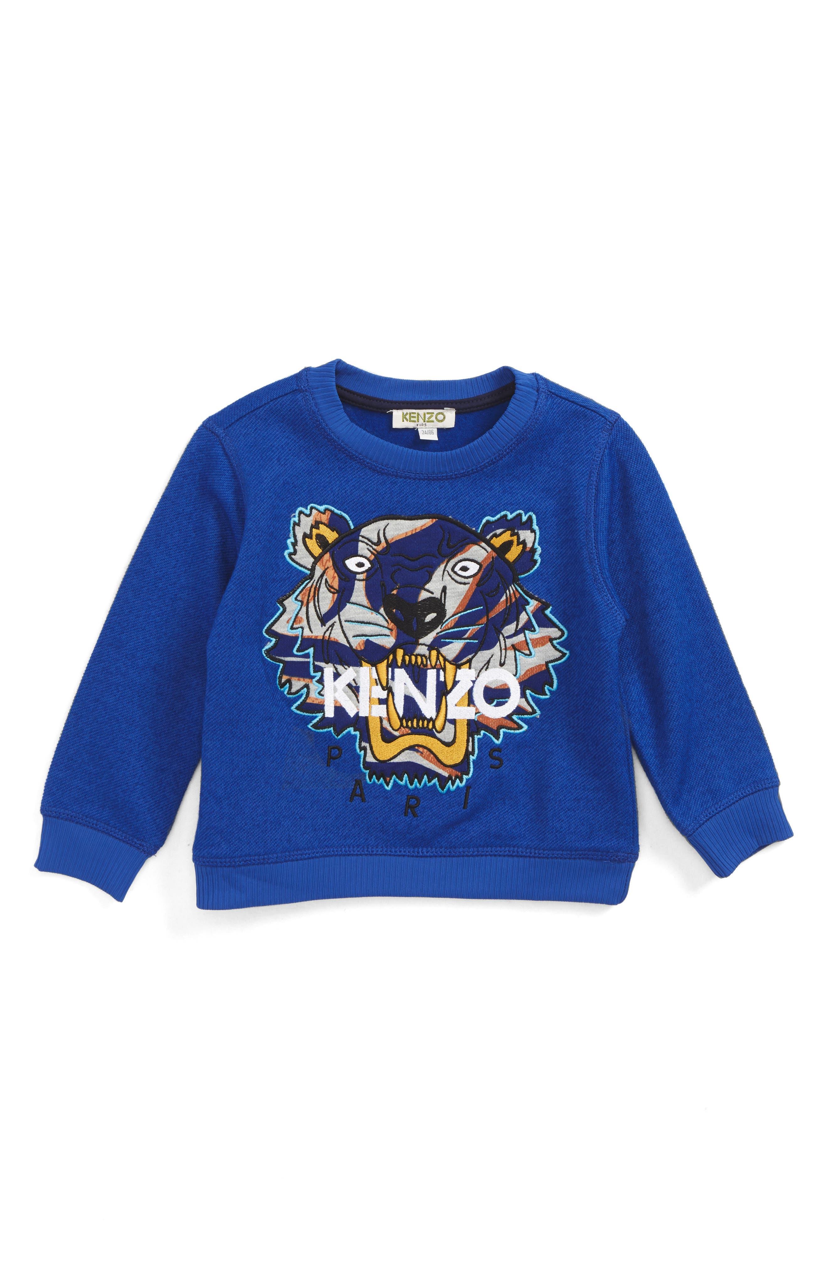 Alternate Image 1 Selected - KENZO Stripe Tiger Logo Sweatshirt (Toddler Boys, Little Boys & Big Boys)