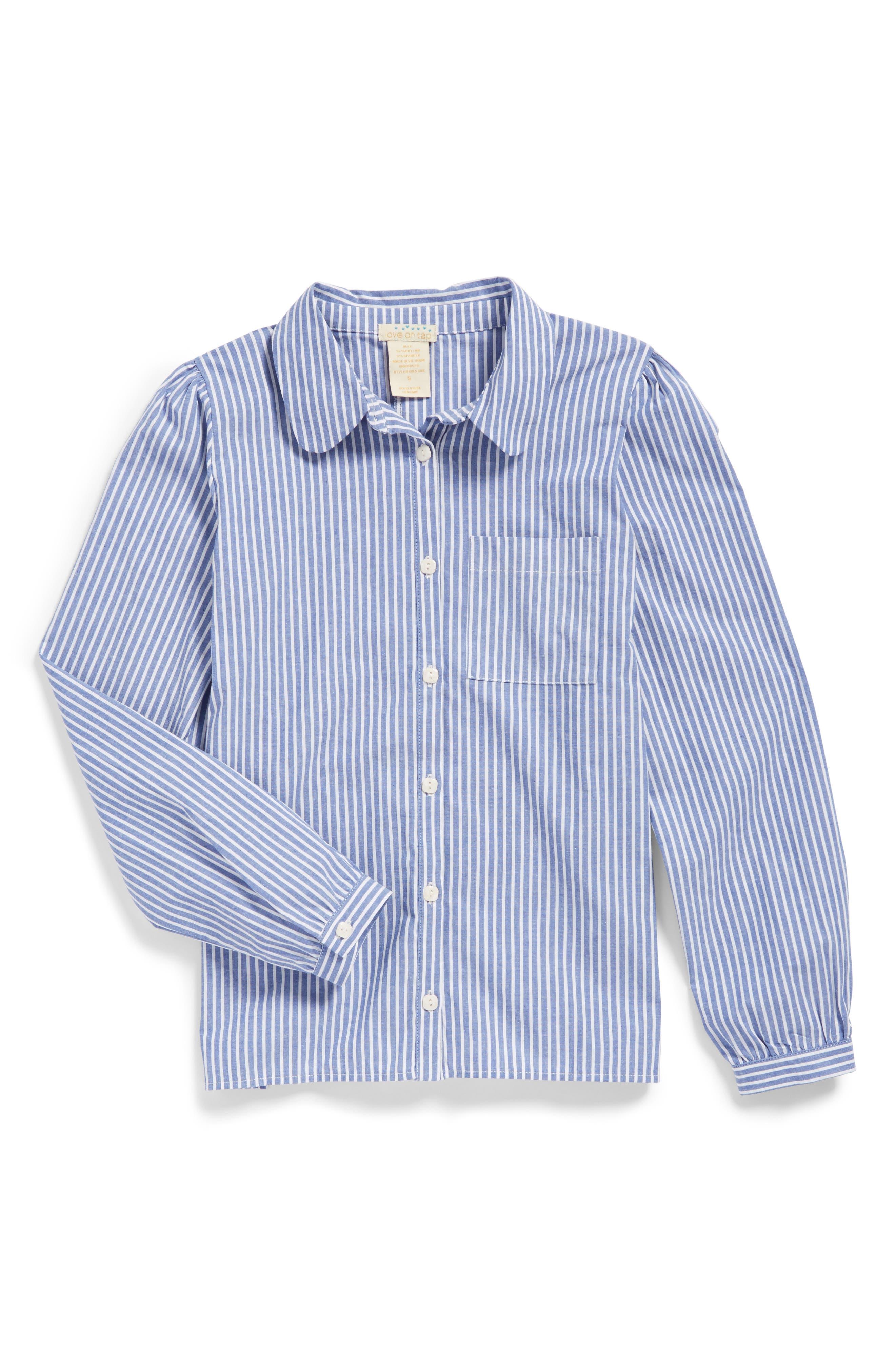 Main Image - Love On Tap Stripe Stretch Cotton Shirt (Big Girls)