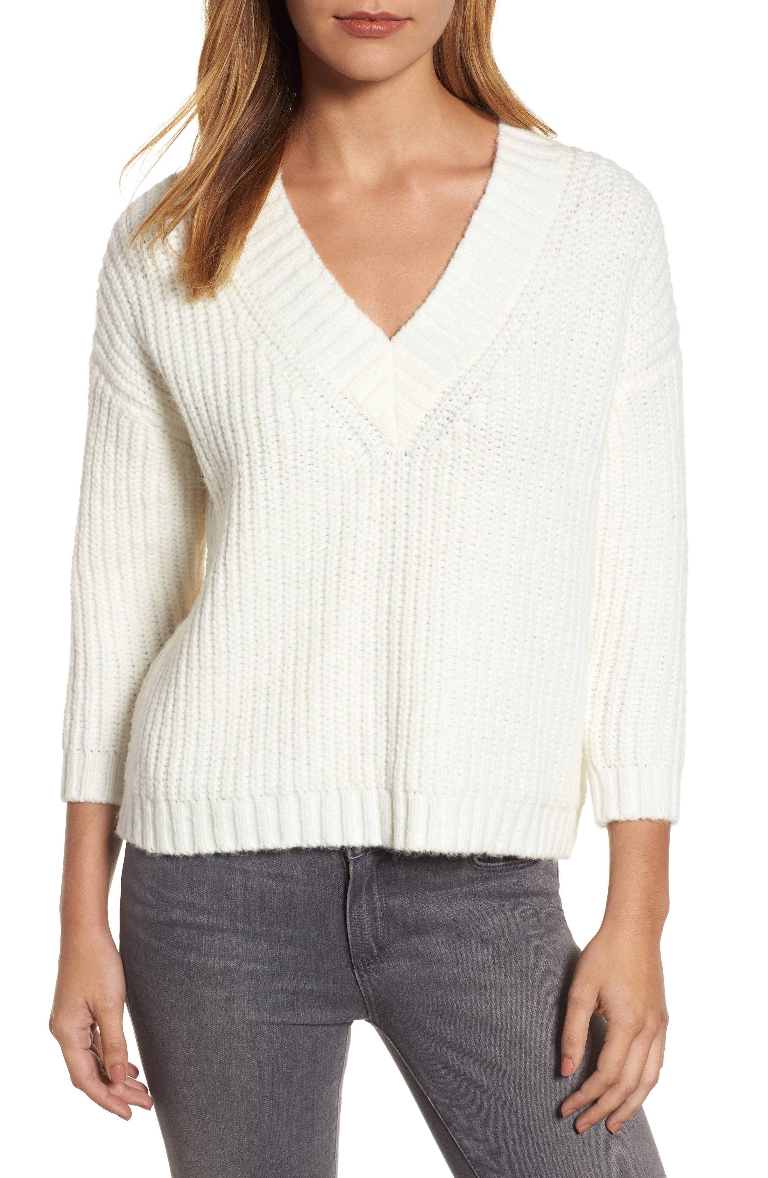 Lace Up Back V-Neck Sweater,                             Main thumbnail 1, color,                             Cream