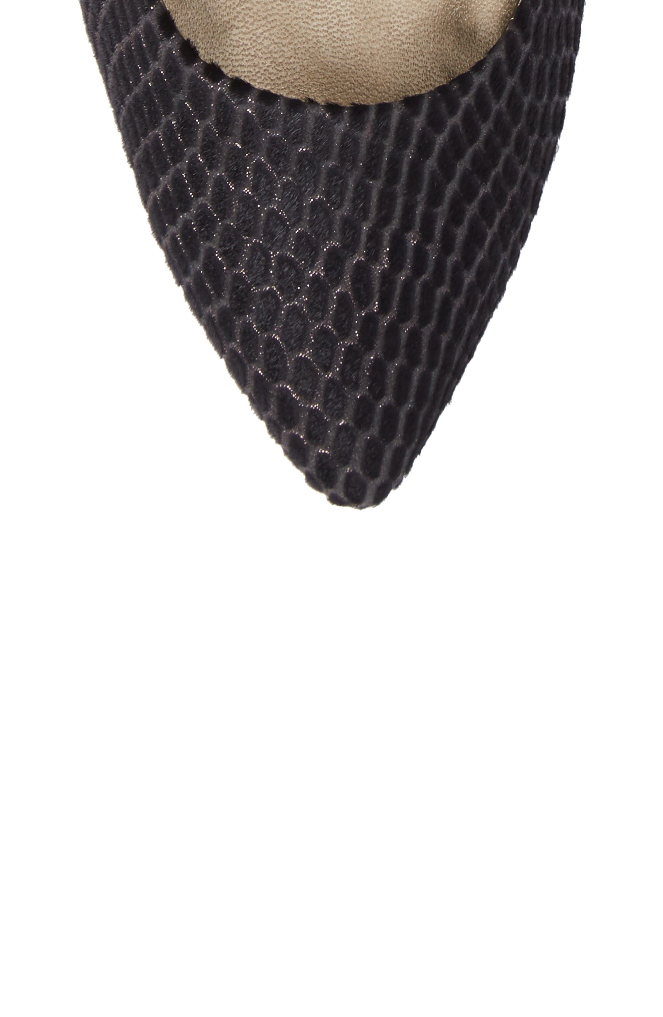 Symphony Pointy Toe Pump,                             Alternate thumbnail 6, color,                             Black Leather