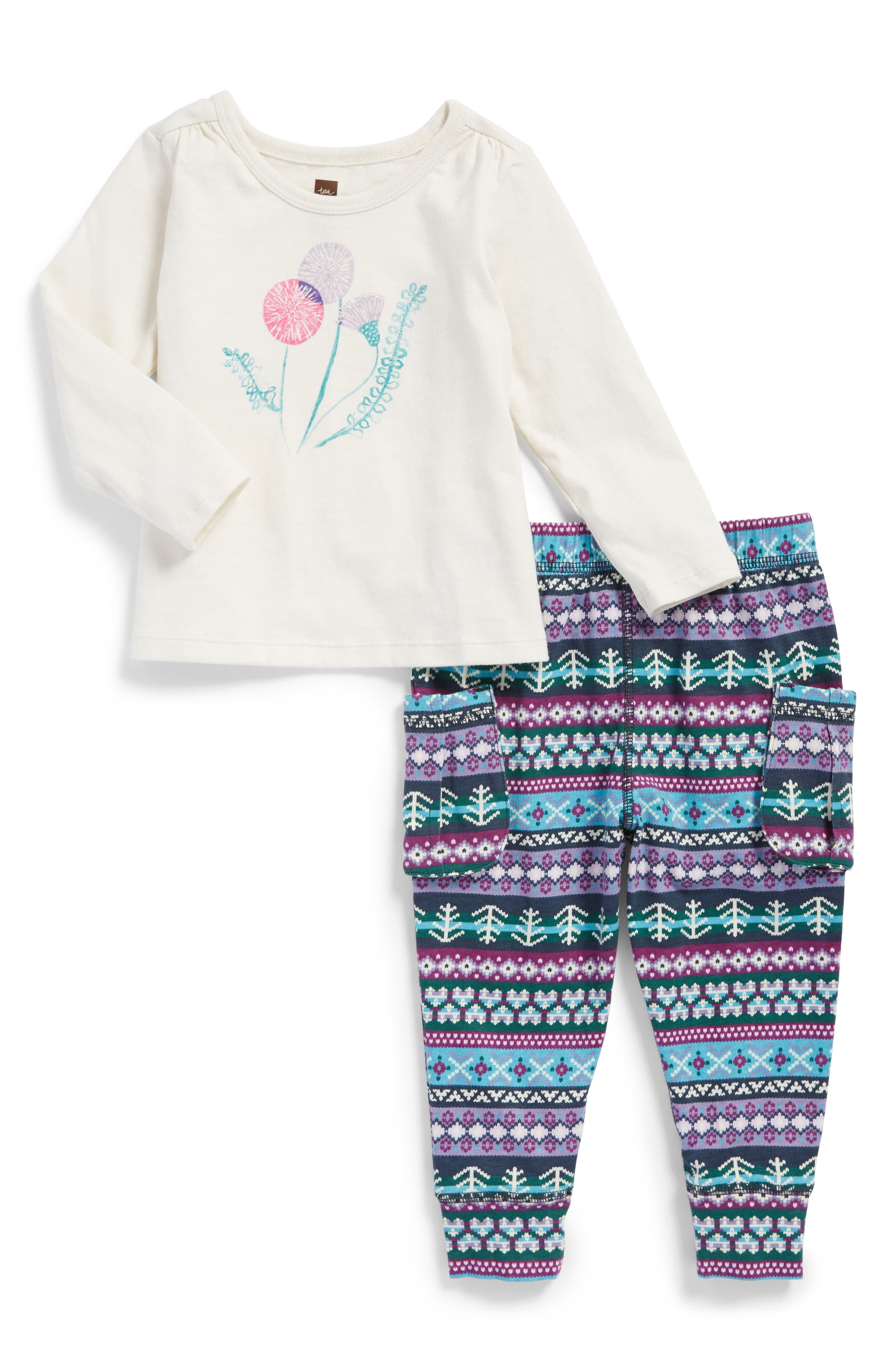 Alternate Image 1 Selected - Tea Collection Thistle Top & Leggings Set (Baby Girls)