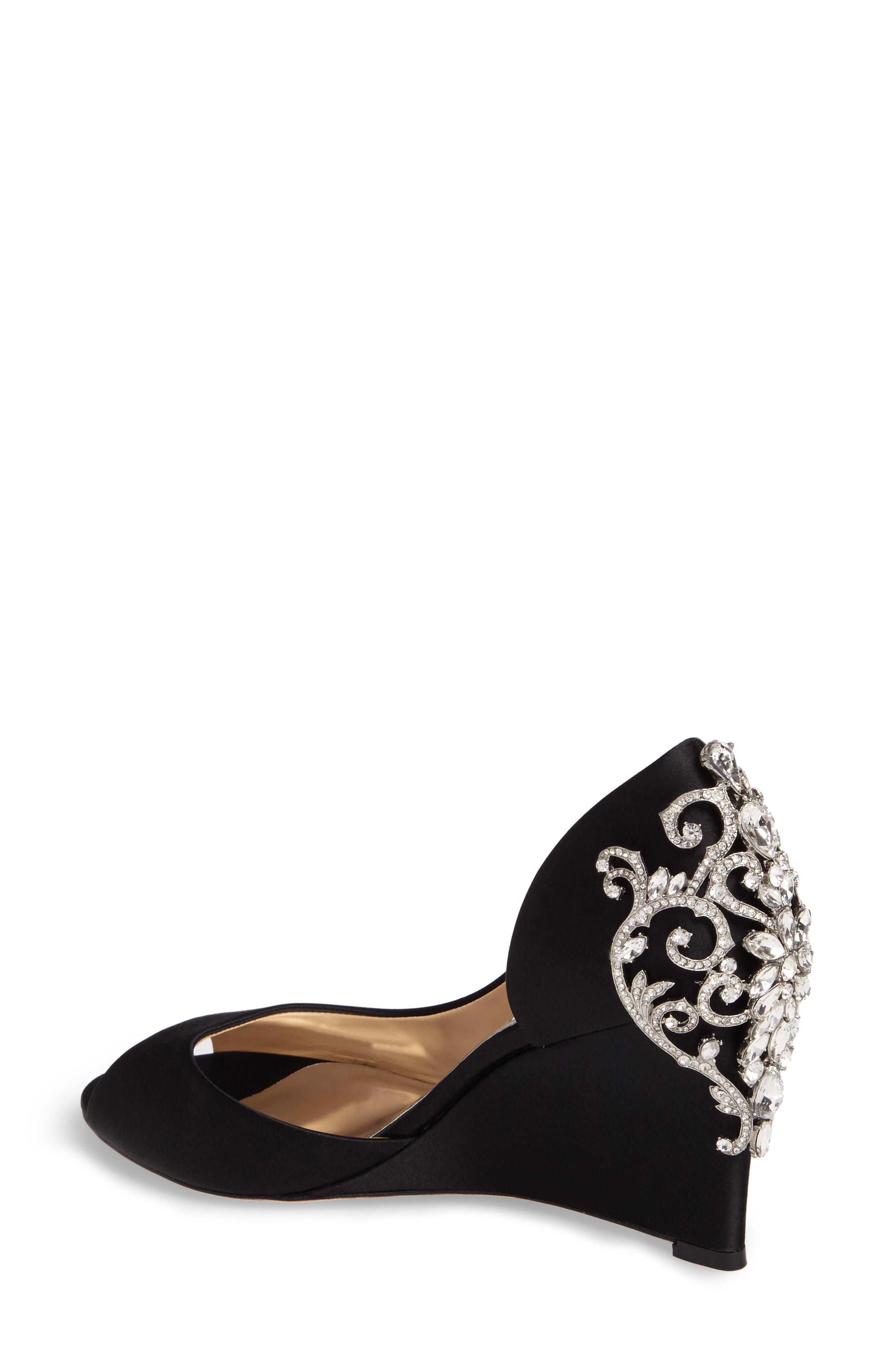 Alternate Image 2  - Badgley Mischka Meagan Embellished Peep Toe Wedge (Women)