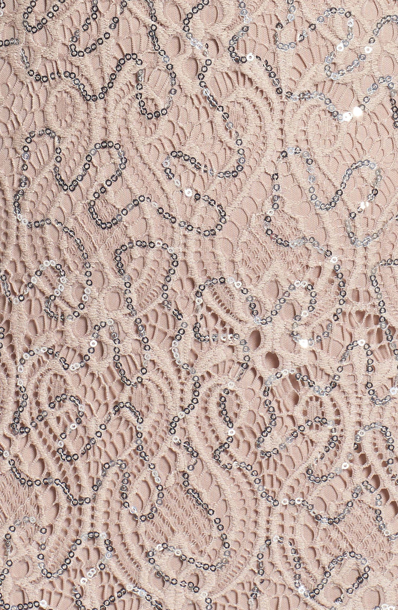 Sequin Lace A-Line Gown,                             Alternate thumbnail 5, color,                             Taupe
