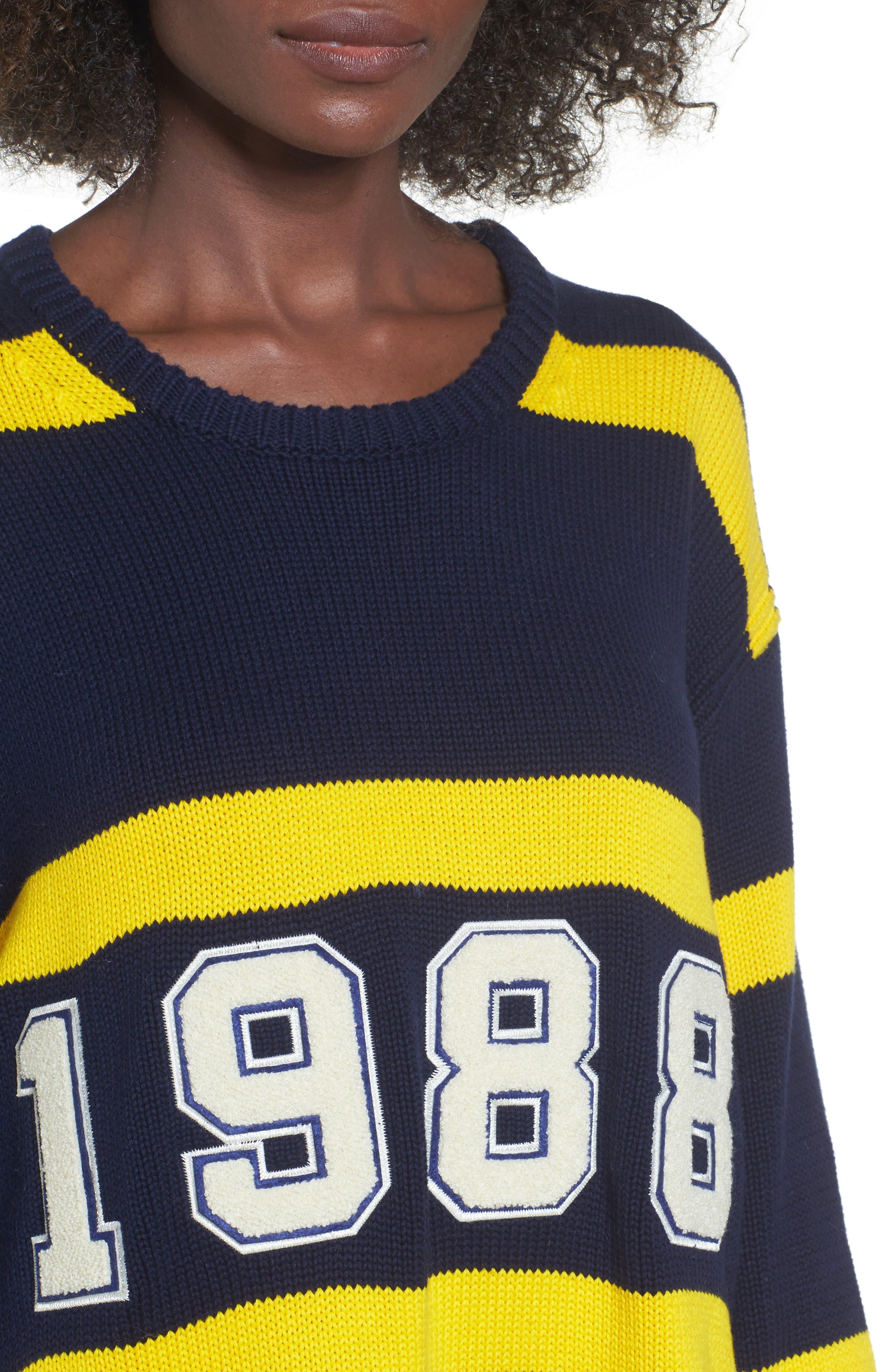 PUMA by Rihanna Longline Stripe Sweater,                             Alternate thumbnail 4, color,                             Navy/ Yellow Stripe